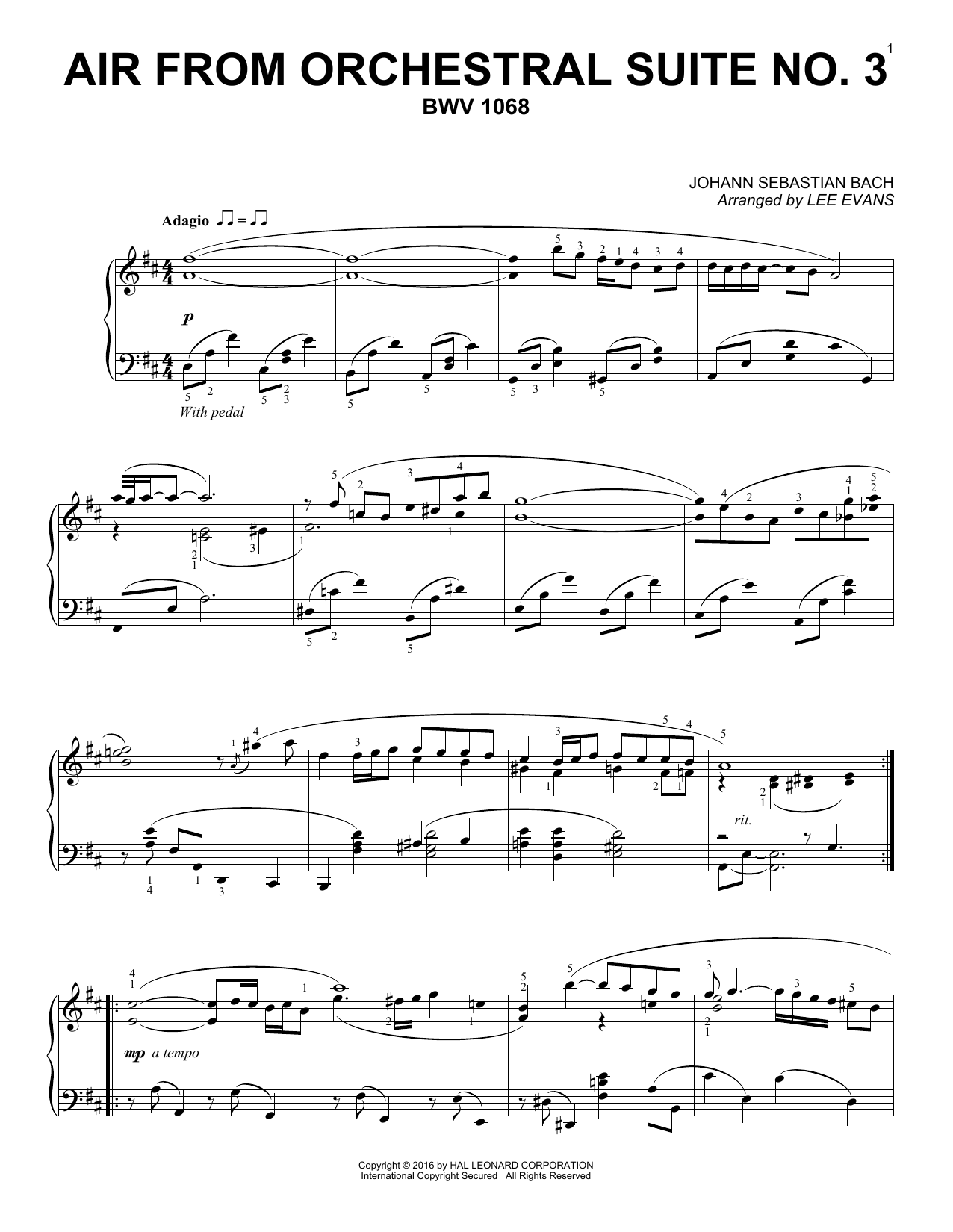 Partition piano Air From Suite No. 3 In D de Lee Evans - Piano Solo