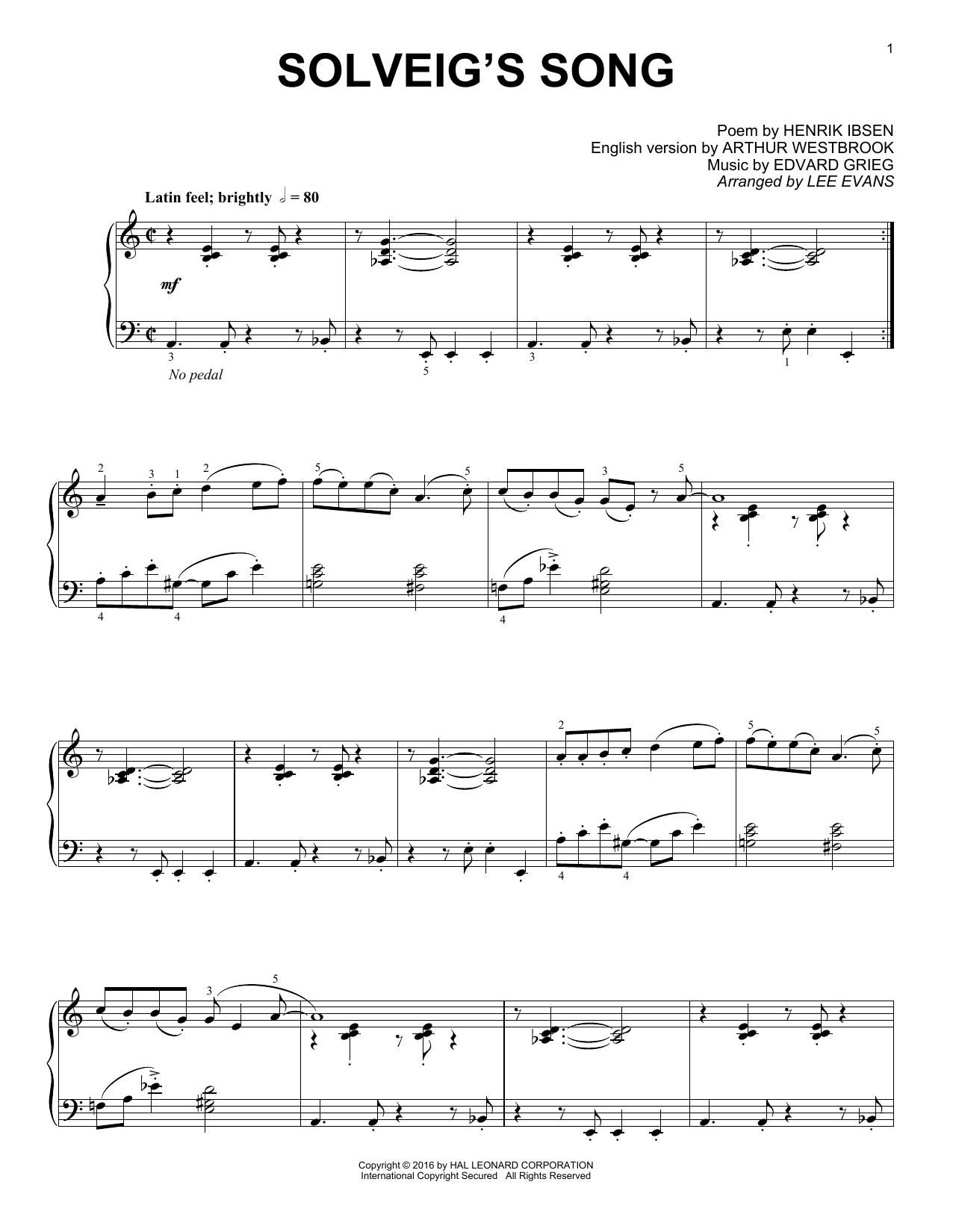 Solveig's Song Sheet Music