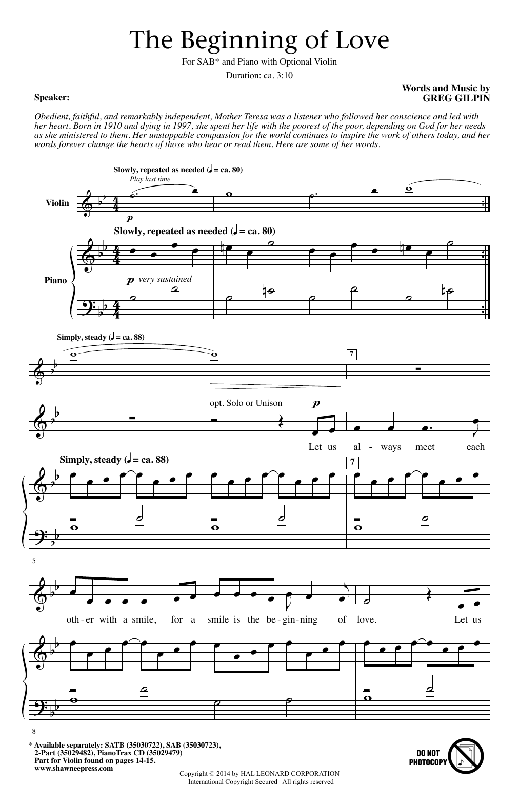 The Beginning Of Love Sheet Music