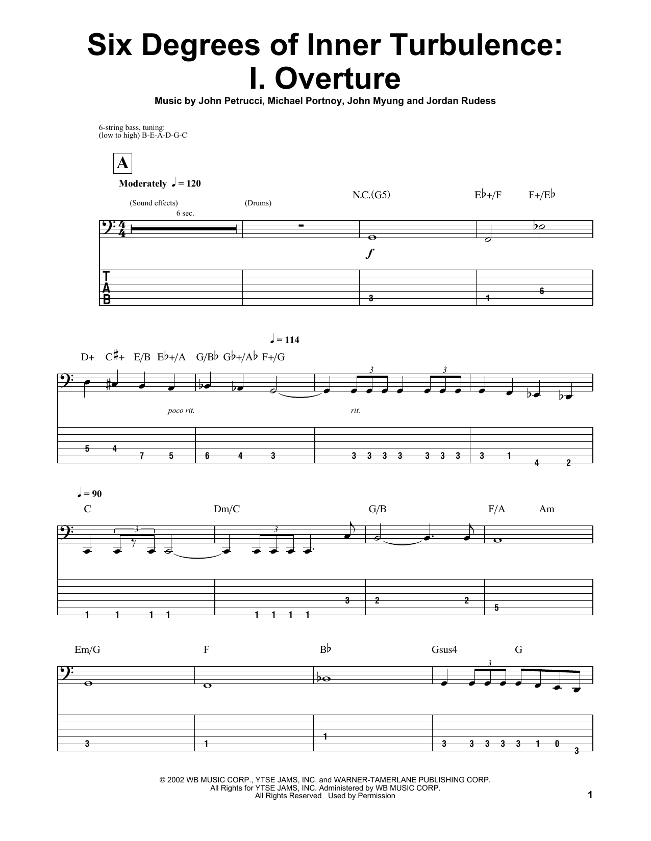 Six Degrees Of Inner Turbulence: I. Overture Sheet Music