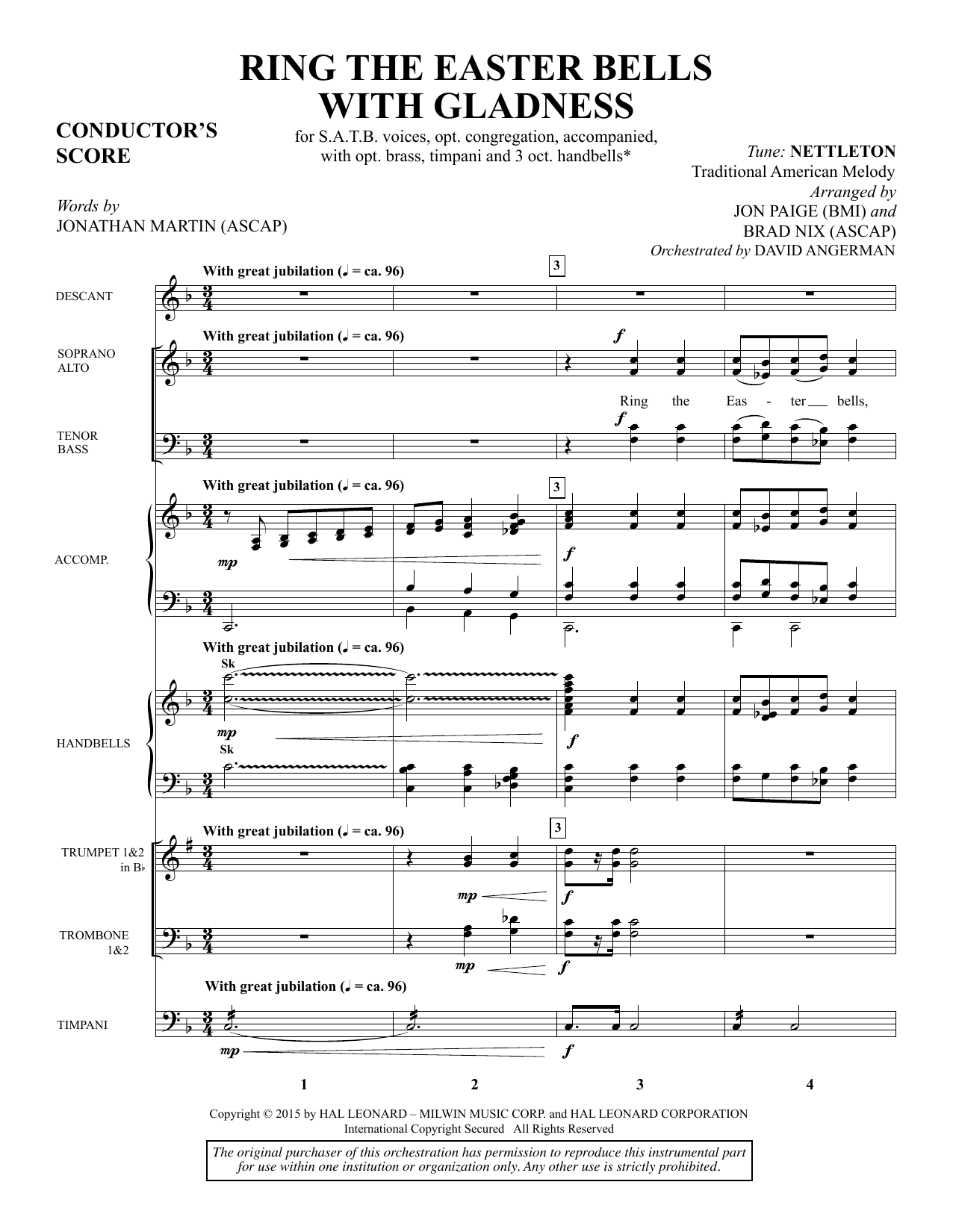 Ring the Easter Bells with Gladness (COMPLETE) sheet music for orchestra/band by Jonathan Martin, Brad Nix and Jon Paige. Score Image Preview.