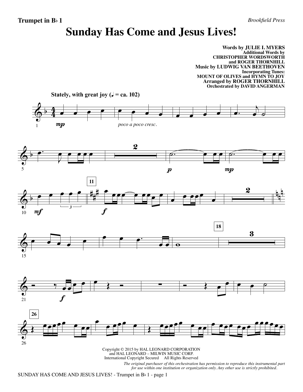 Sunday Has Come and Jesus Lives! - Bb Trumpet 1 Sheet Music