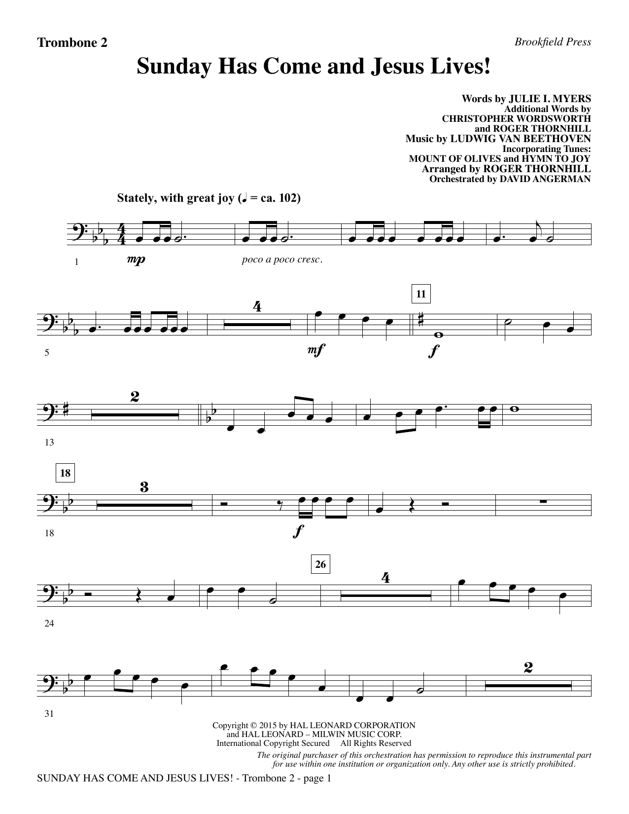 Sunday Has Come and Jesus Lives! - Trombone 2 Sheet Music