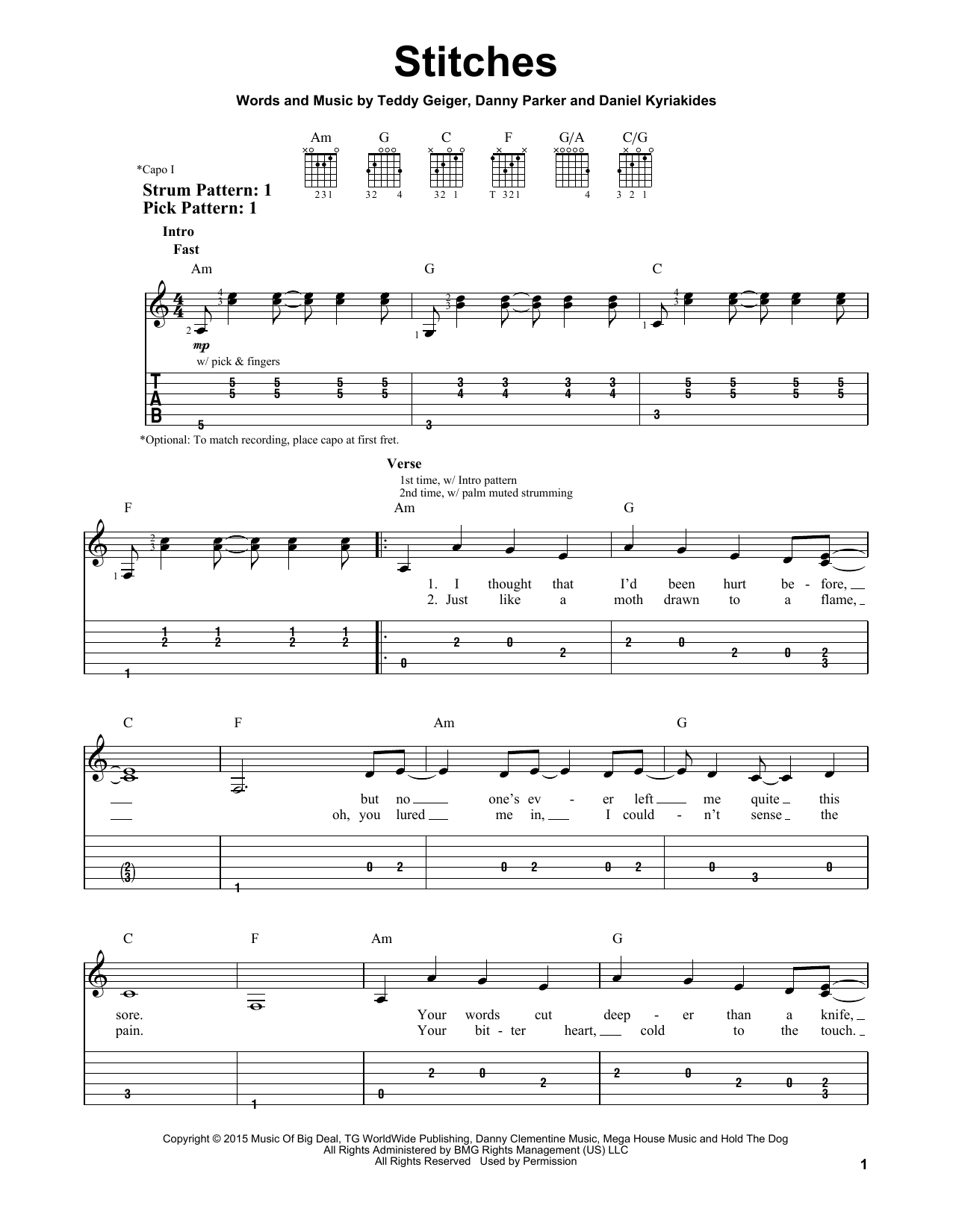 Stitches sheet music by Shawn Mendes (Easy Guitar Tab u2013 164004)
