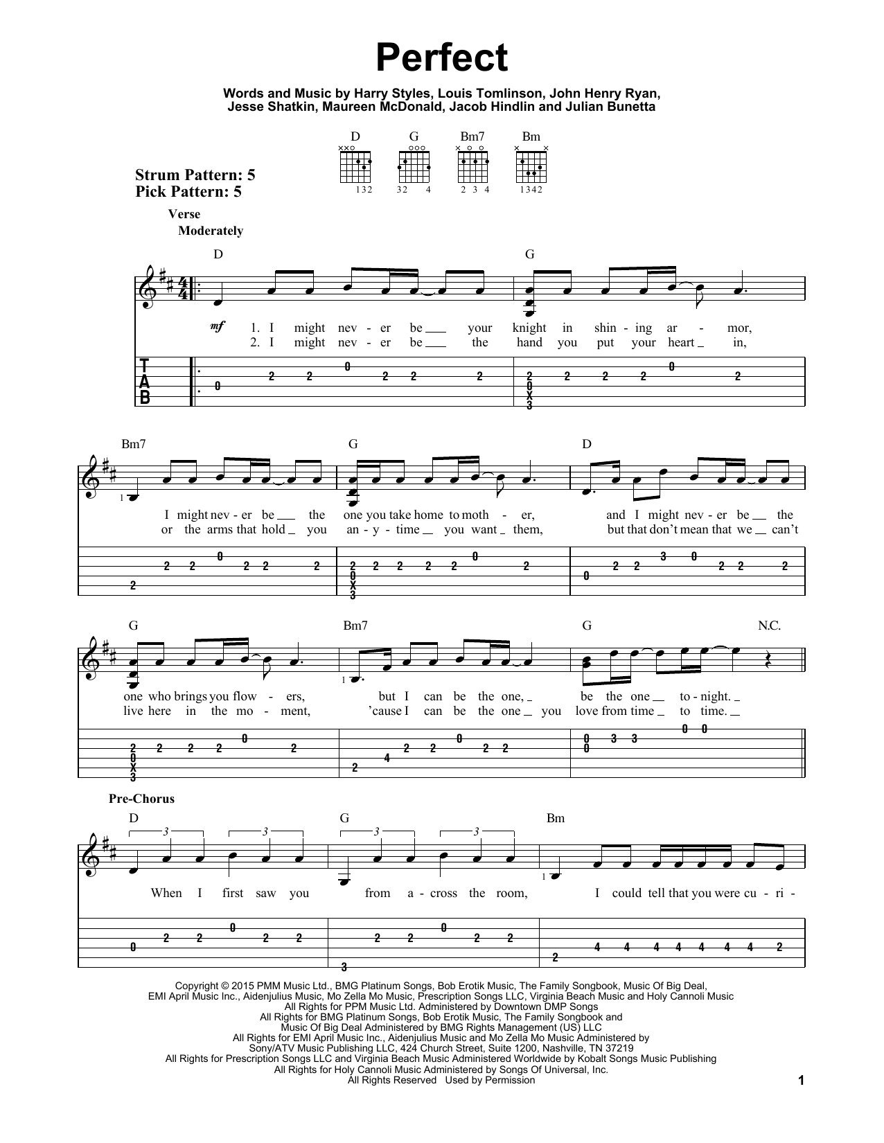 Perfect By One Direction Easy Guitar Tab Guitar Instructor