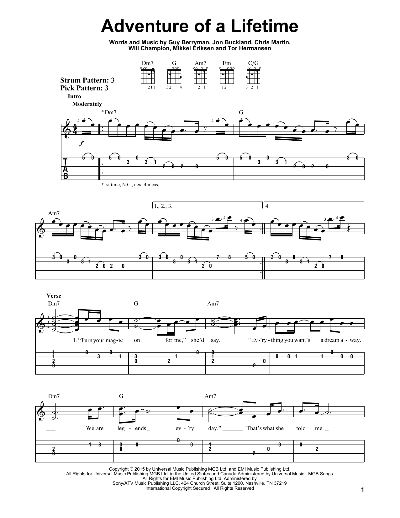 Adventure Of A Lifetime Sheet Music