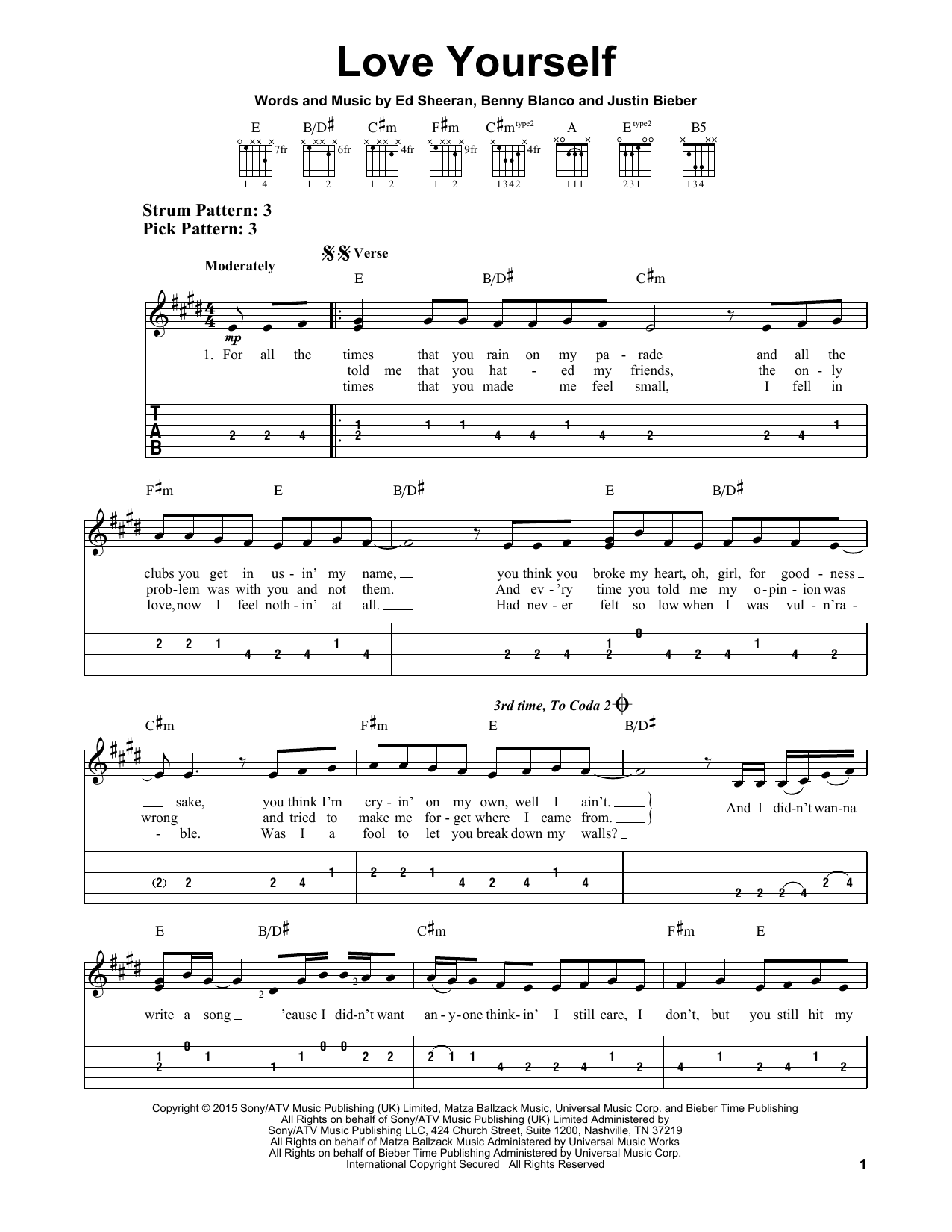 Love Yourself sheet music by Justin Bieber (Easy Guitar Tab u2013 163991)