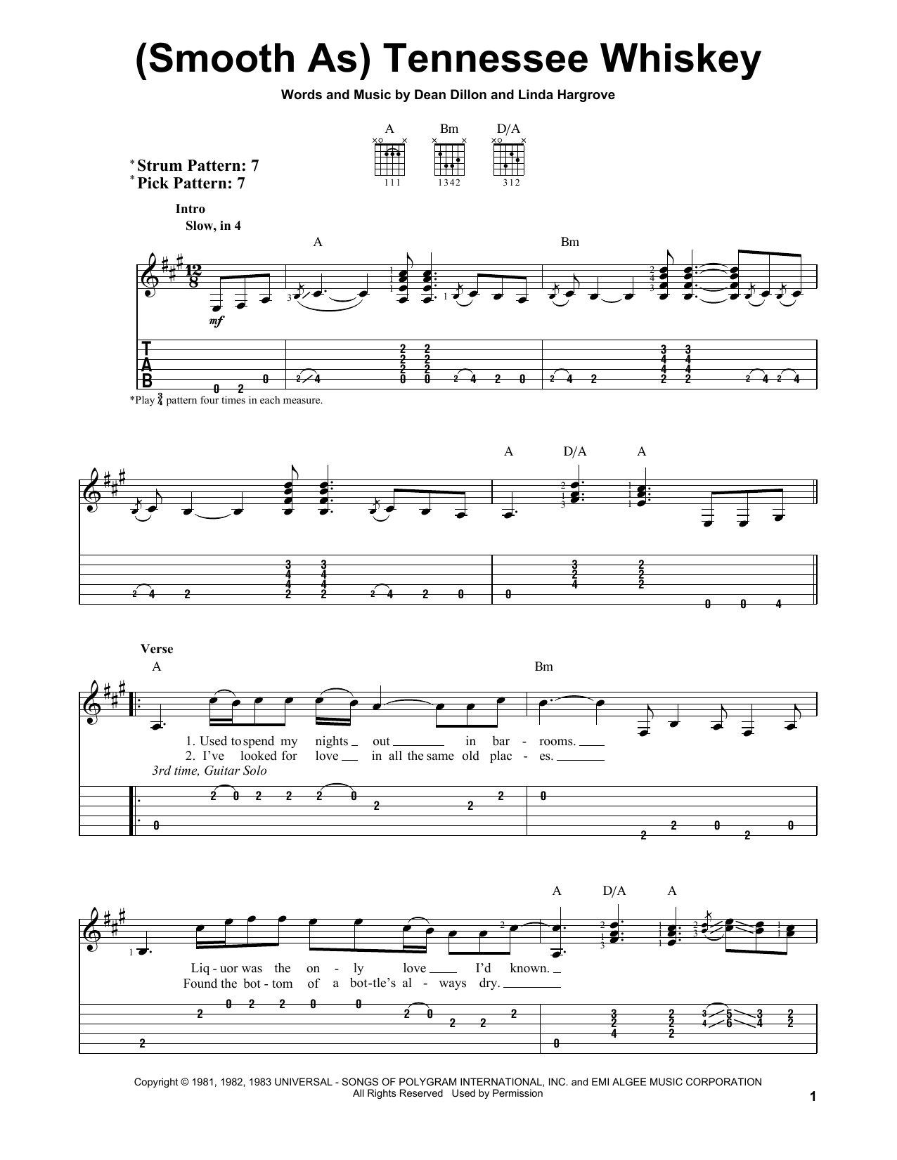 Tablature guitare (Smooth As) Tennessee Whiskey de Chris Stapleton - Tablature guitare facile