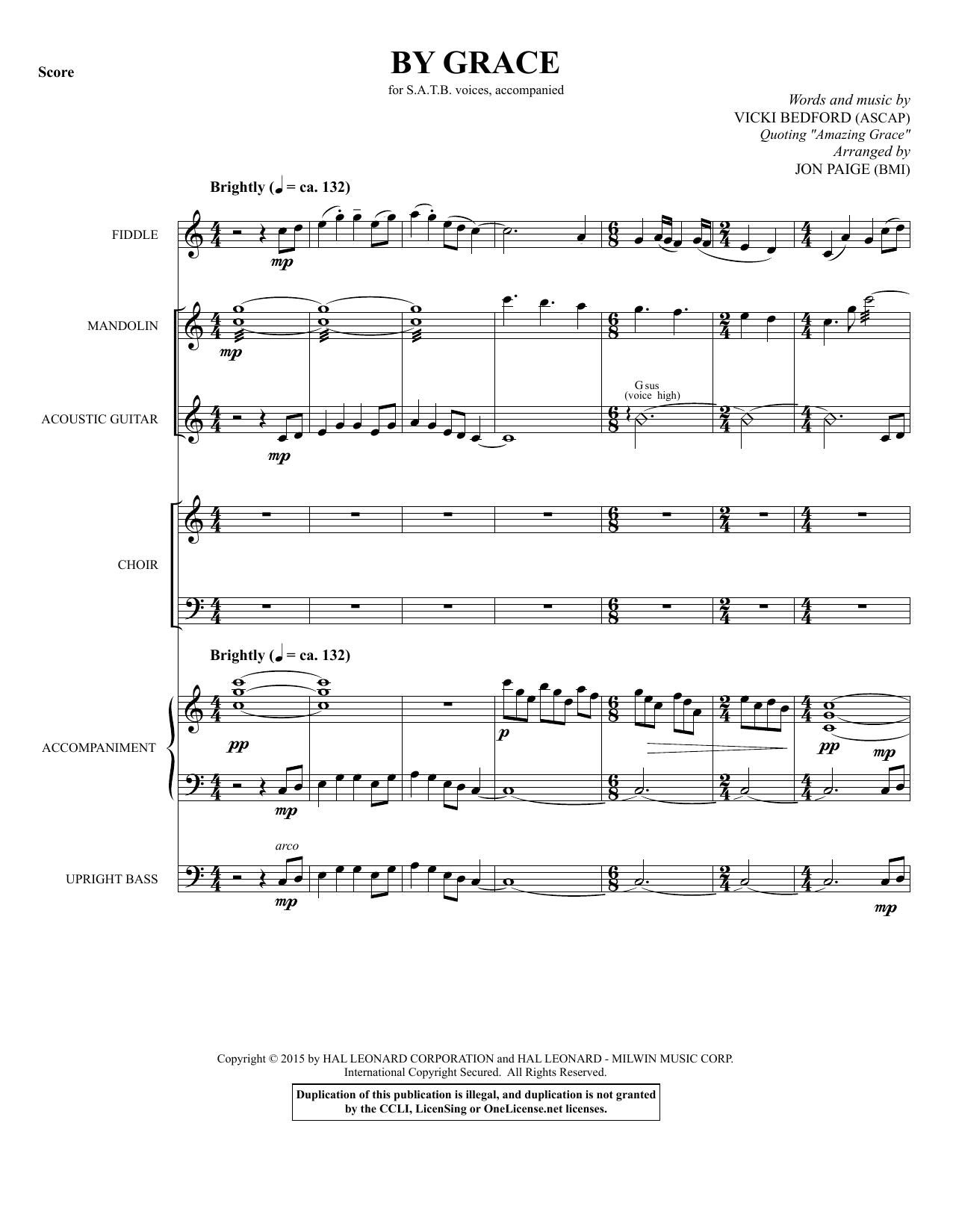 By Grace (COMPLETE) sheet music for orchestra/band by Vicki Beford, Jon Paige and Vicki Bedford. Score Image Preview.