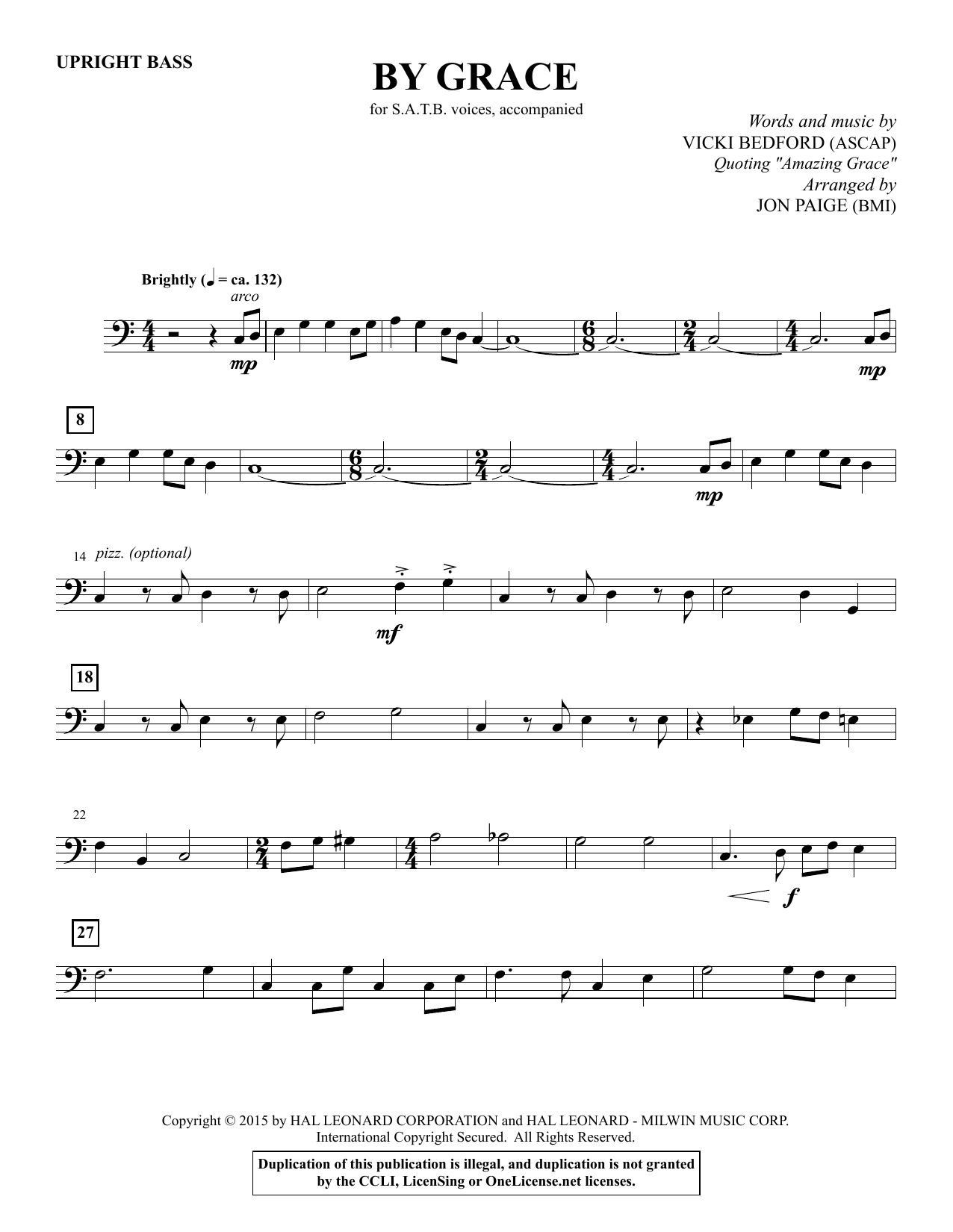 By Grace - Upright Bass Sheet Music