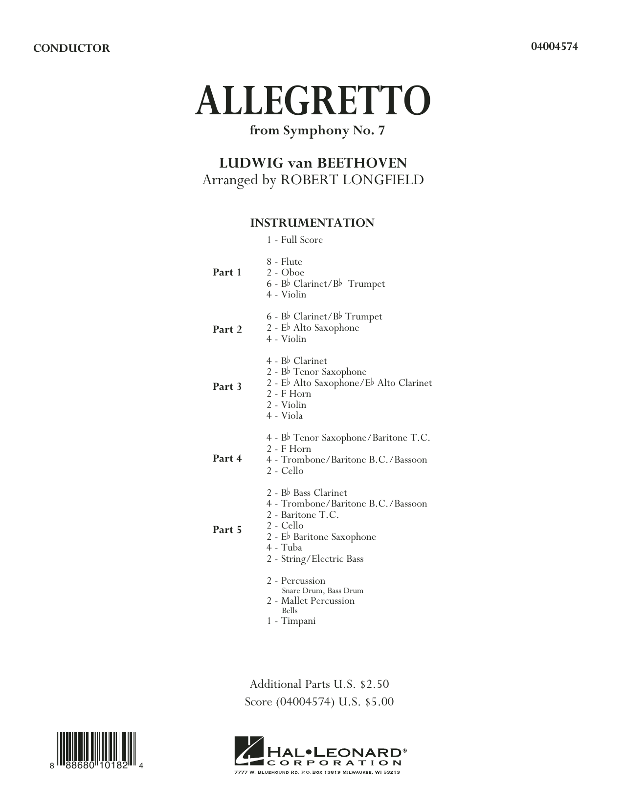 Allegretto (from Symphony No. 7) (COMPLETE) sheet music for concert band by Ludwig van Beethoven and Robert Longfield. Score Image Preview.