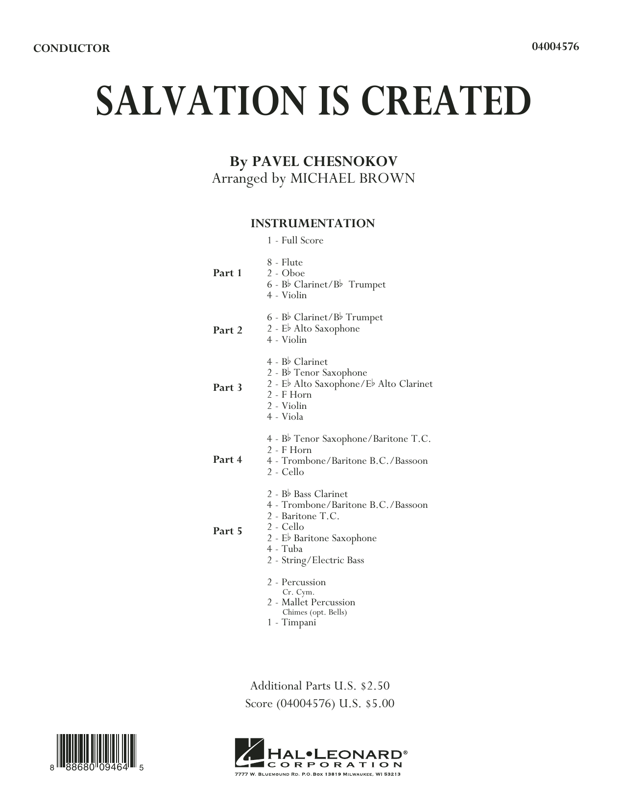 Salvation Is Created, complete collection (COMPLETE) sheet music for concert band by Pavel Tschesnokoff, Michael Brown and Pavel Chesnokov. Score Image Preview.