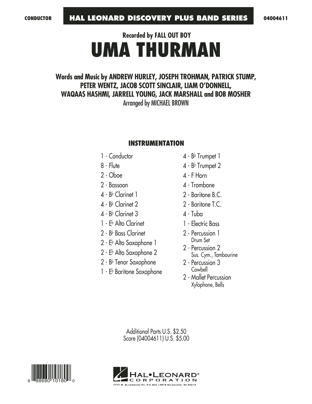 Uma Thurman (COMPLETE) sheet music for concert band by Michael Brown, Andrew Hurley, Fall Out Boy, Jack Marshall, Peter Wentz and Waqaas Hashmi. Score Image Preview.