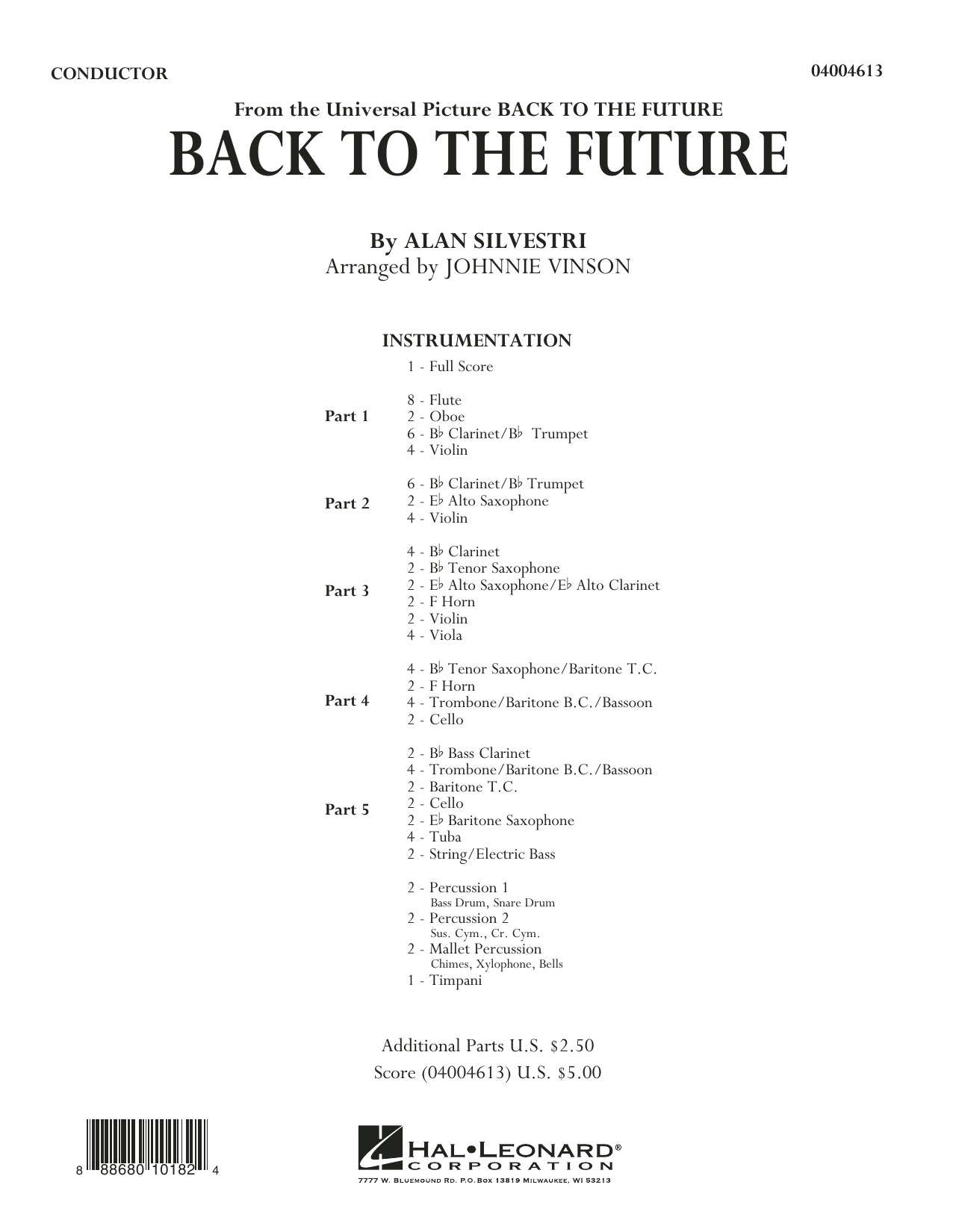 Back to the Future (Main Theme) (COMPLETE) sheet music for concert band by Johnnie Vinson and Alan Silvestri. Score Image Preview.
