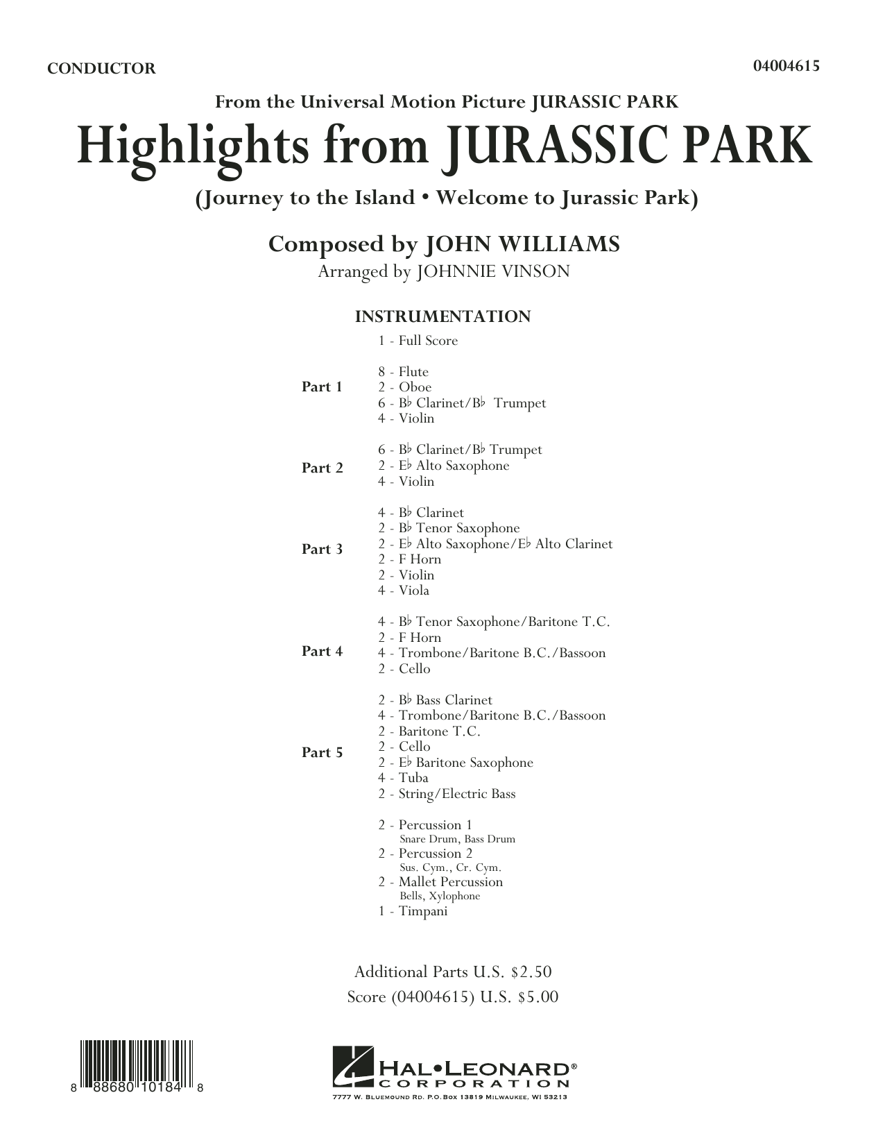Highlights from Jurassic Park (COMPLETE) sheet music for concert band by Johnnie Vinson and John Williams. Score Image Preview.