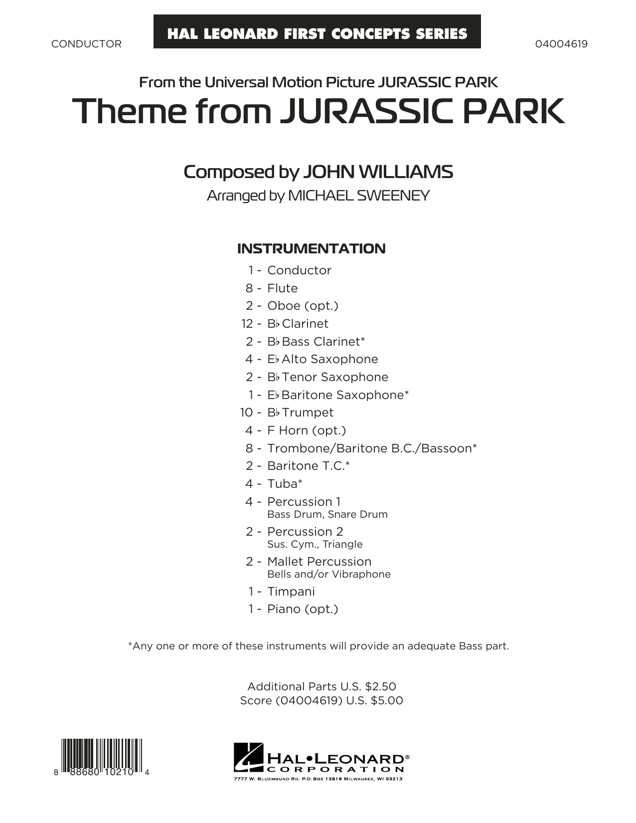 Theme from Jurassic Park (COMPLETE) sheet music for concert band by Michael Sweeney and John Williams. Score Image Preview.