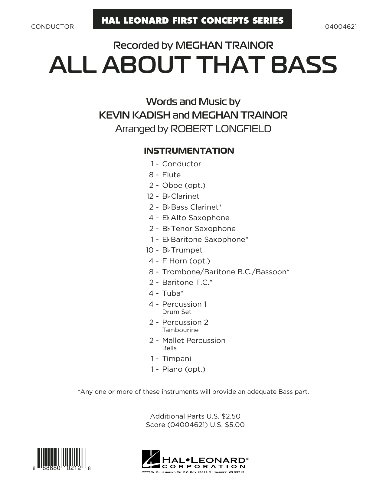 All About That Bass, complete collection (COMPLETE) sheet music for concert band by Meghan Trainor, Kevin Kadish and Robert Longfield. Score Image Preview.