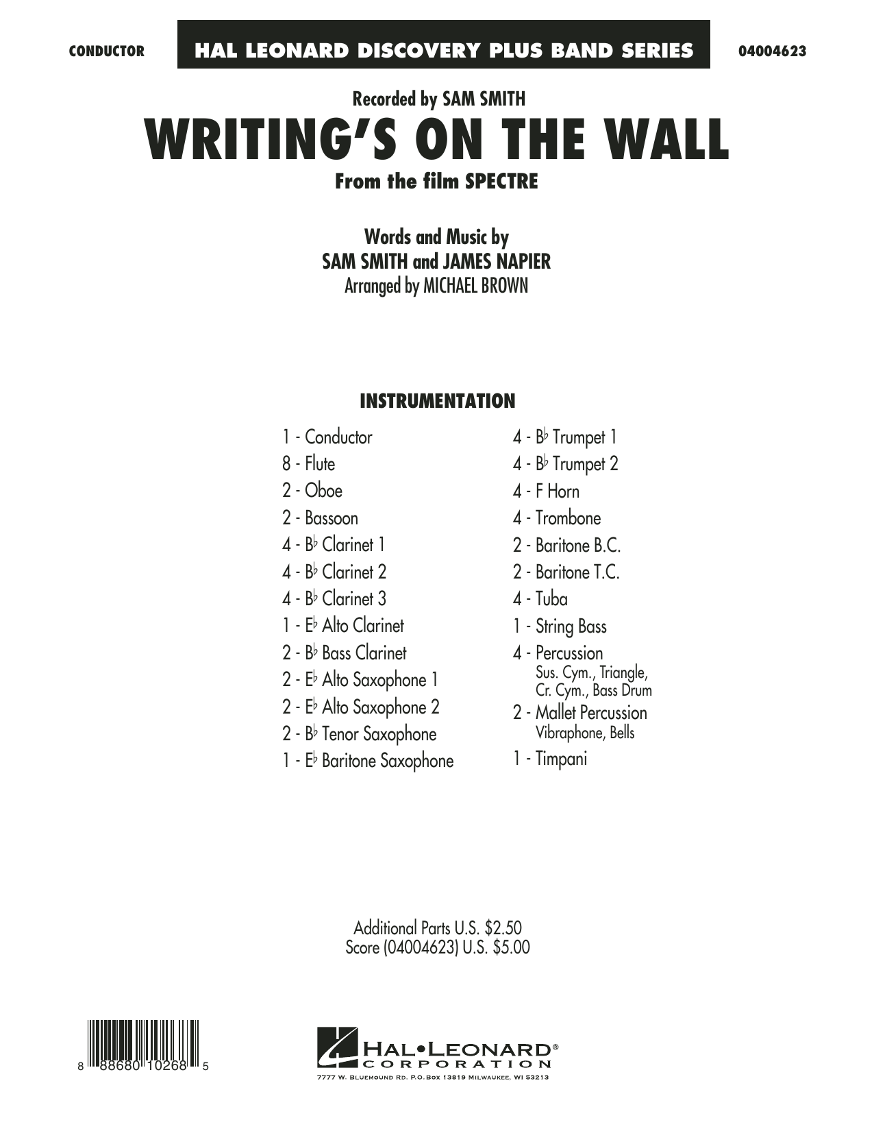 Writing's on the Wall (from Spectre) (COMPLETE) sheet music for concert band by Michael Brown, James Napier and Sam Smith. Score Image Preview.