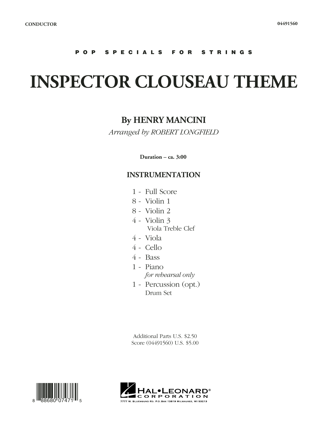 Inspector Clouseau Theme (from The Pink Panther Strikes Again) (COMPLETE) sheet music for orchestra by Robert Longfield and Henry Mancini. Score Image Preview.