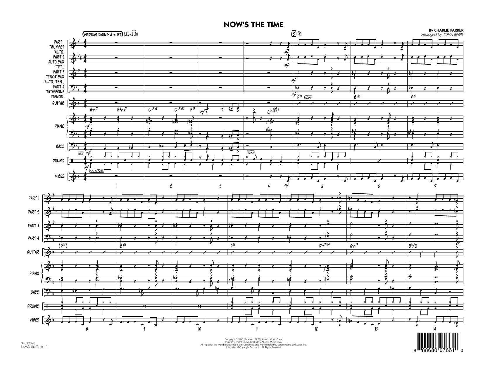 Now's the Time (COMPLETE) sheet music for jazz band by Charlie Parker and John Berry. Score Image Preview.