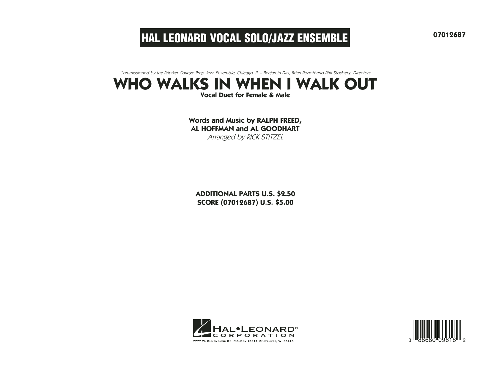 Who Walks In When I Walk Out? (Key: D Minor) (COMPLETE) sheet music for jazz band by Ralph Freed, Al Goodhart, Al Hoffman, Ella Fitzgerald, Louis Armstrong and Rick Stitzel. Score Image Preview.