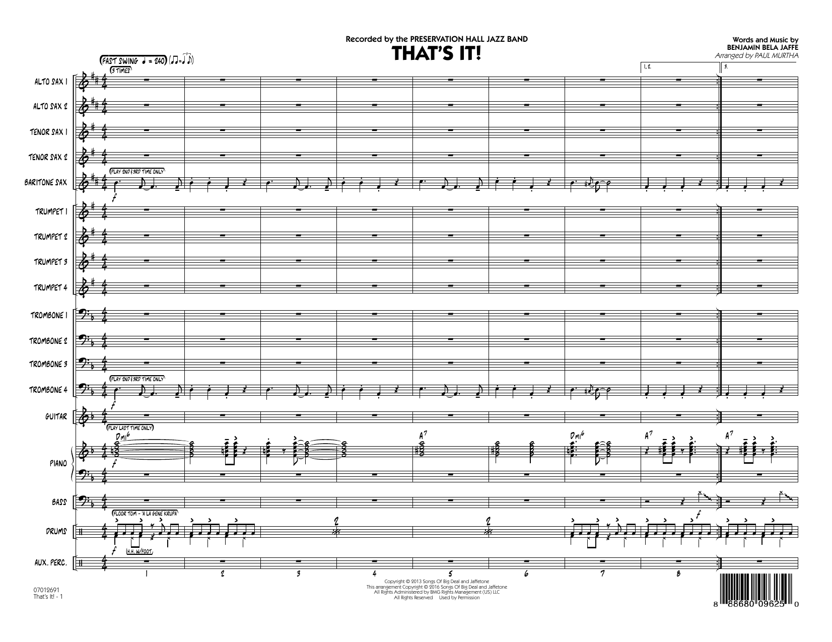 That's It! (COMPLETE) sheet music for jazz band by Benjamin Bela Jaffe and Paul Murtha. Score Image Preview.