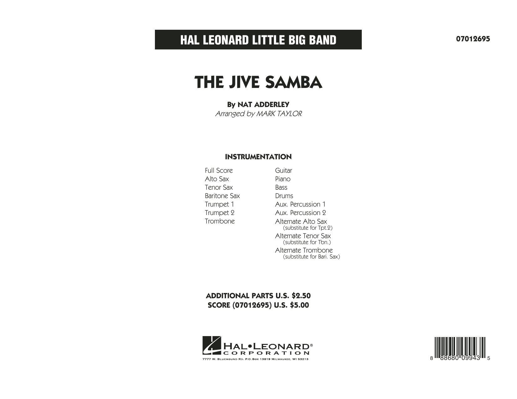 The Jive Samba (COMPLETE) sheet music for jazz band by Nat Adderley, Cannonball Adderley and Mark Taylor. Score Image Preview.