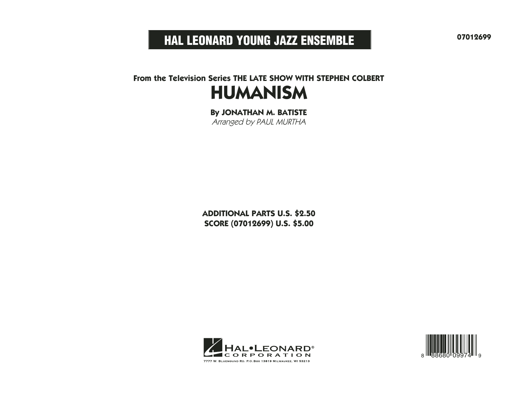 Humanism (COMPLETE) sheet music for jazz band by Jonathan M. Batiste and Paul Murtha. Score Image Preview.