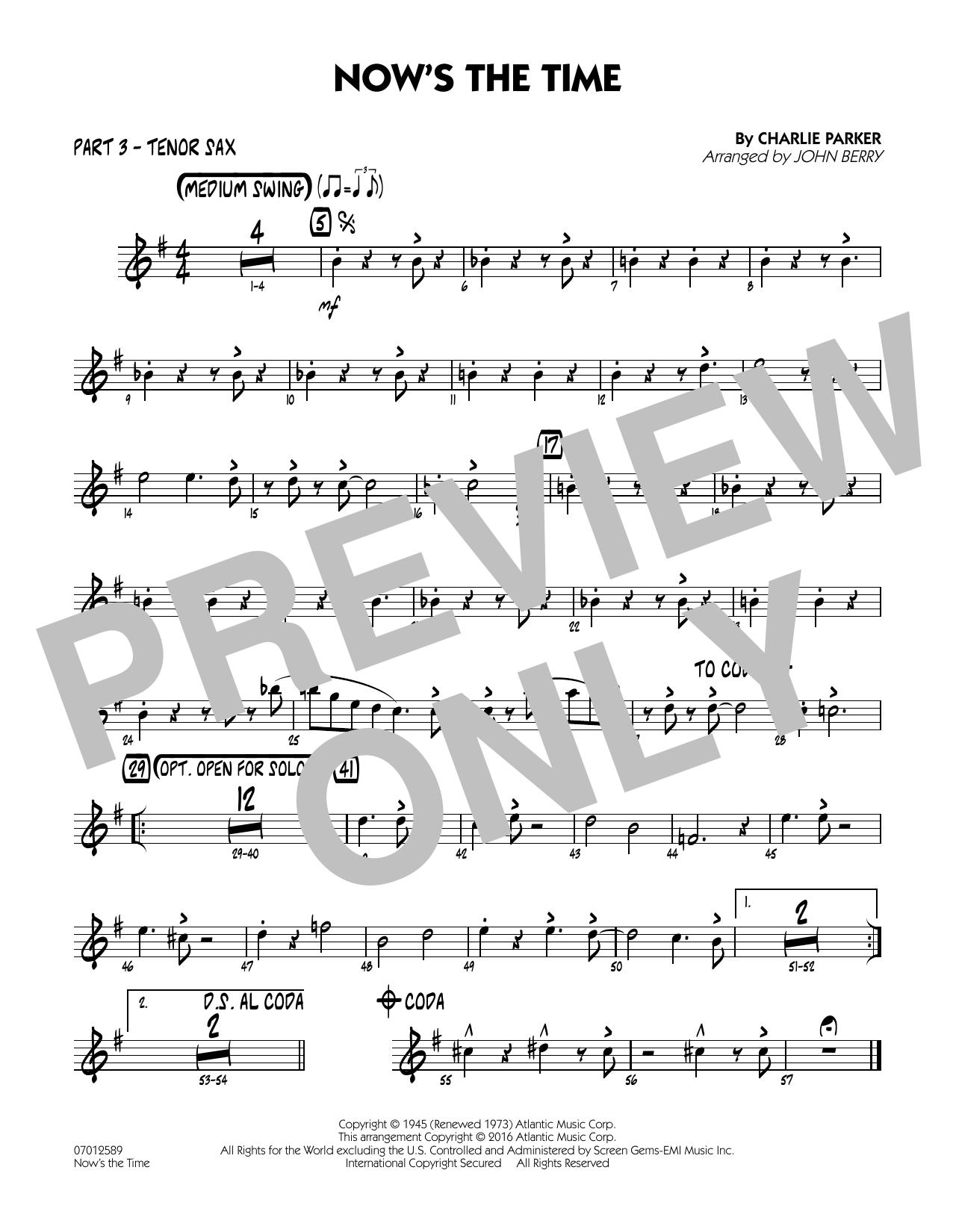 Now's the Time - Part 3 - Bb Tenor Sax (Jazz Ensemble)