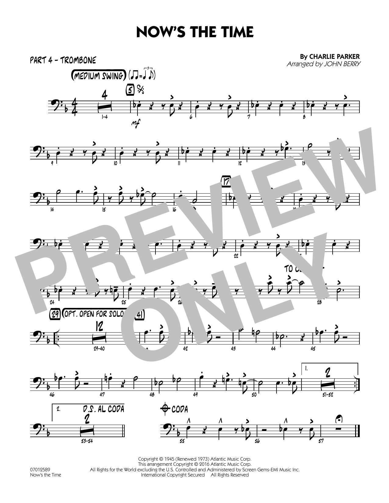Now's the Time - Part 4 - Trombone (Jazz Ensemble)