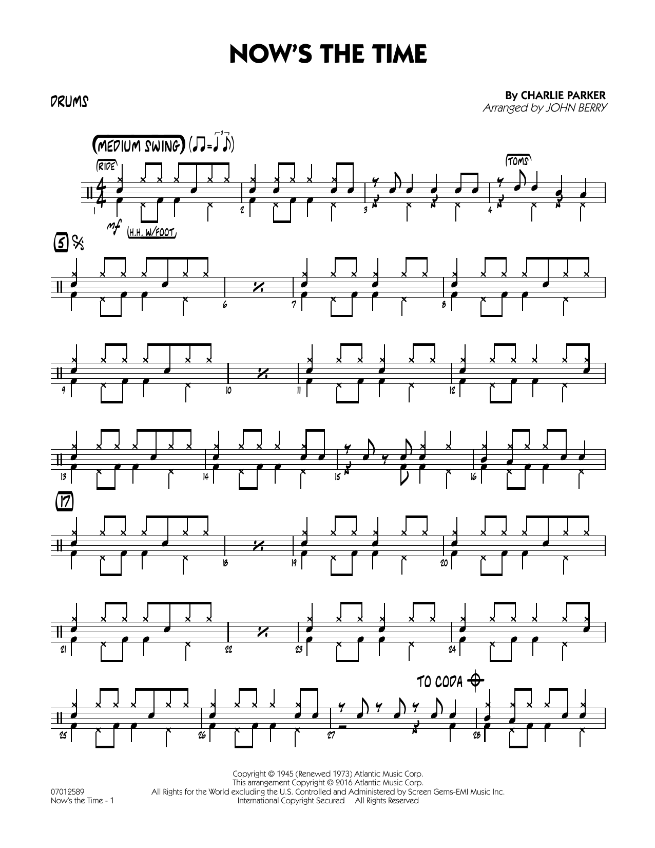Now's the Time - Drums (Jazz Ensemble)