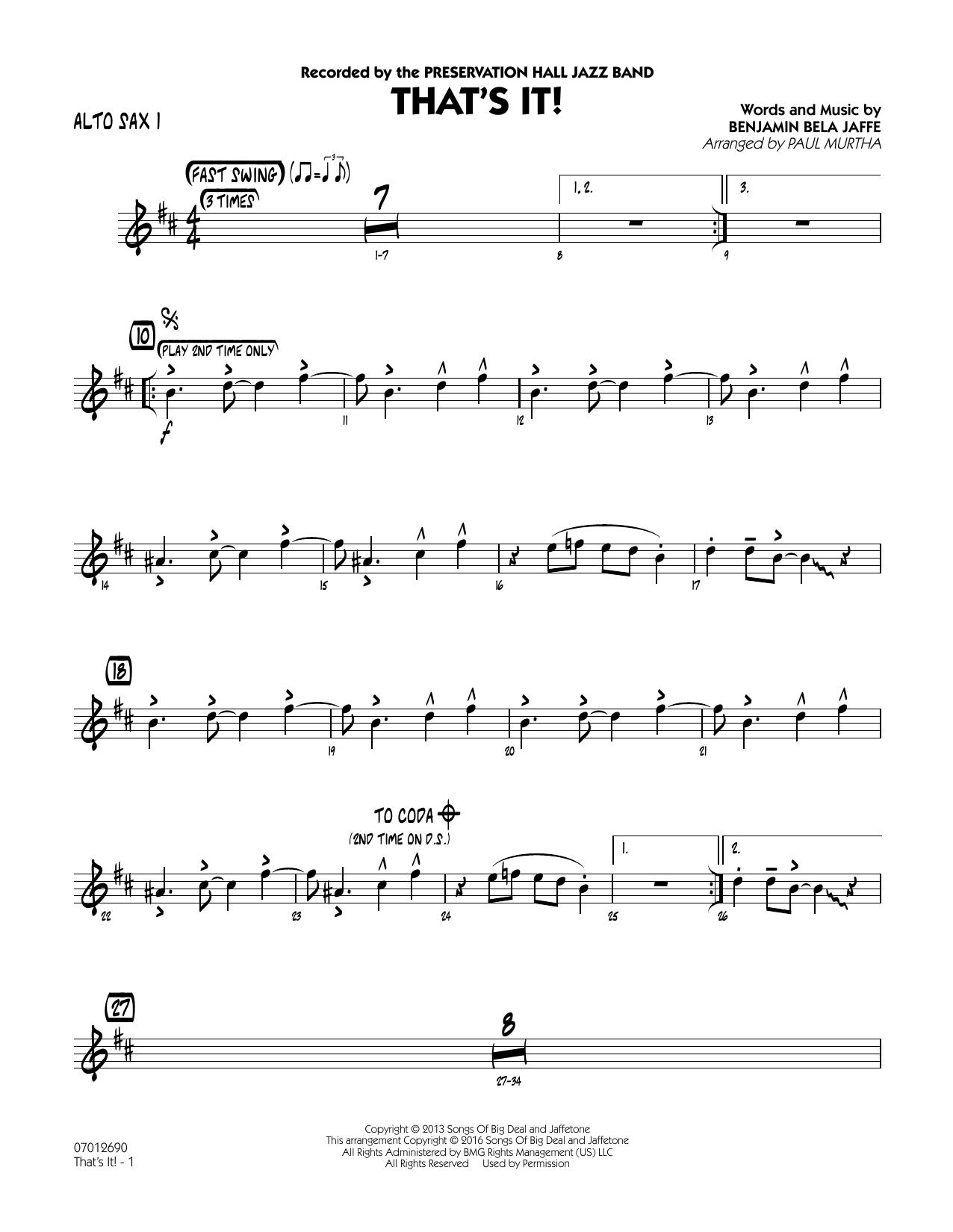 That's It! - Alto Sax 1 (Jazz Ensemble)