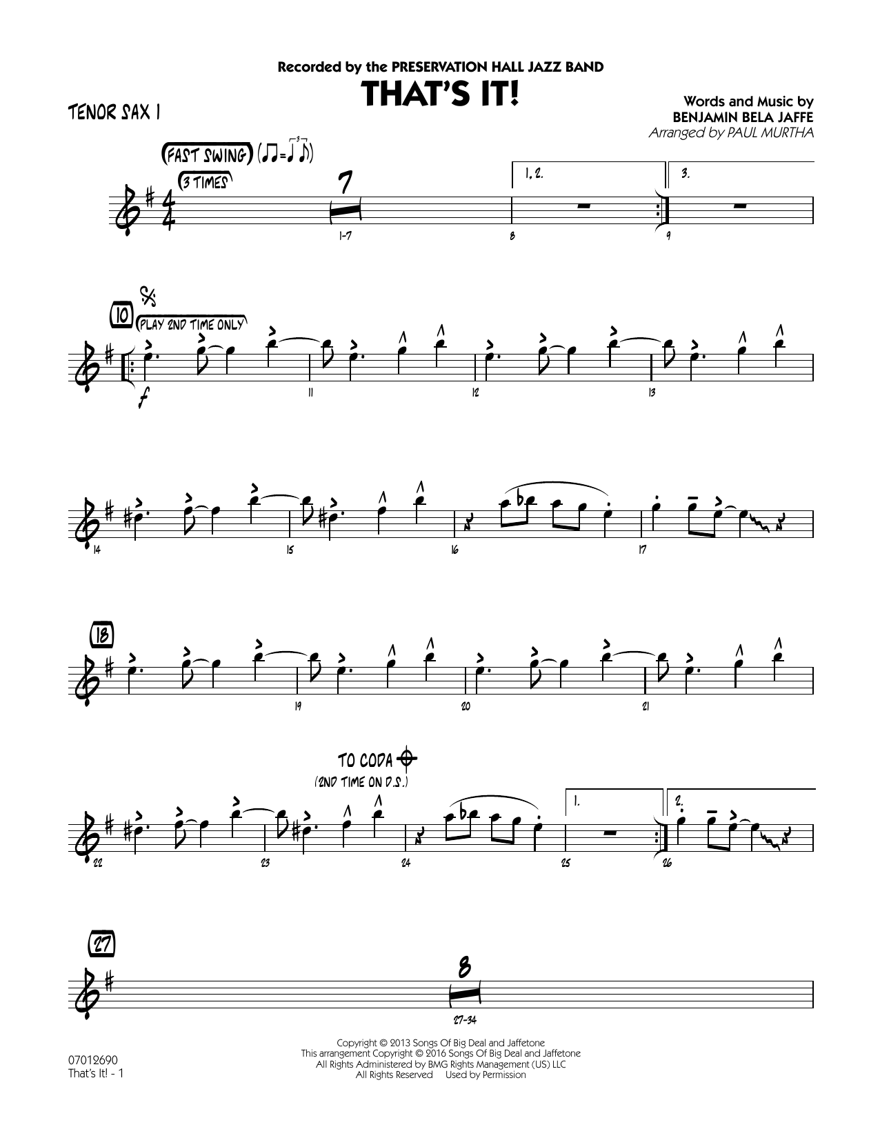 That's It! - Tenor Sax 1 (Jazz Ensemble)