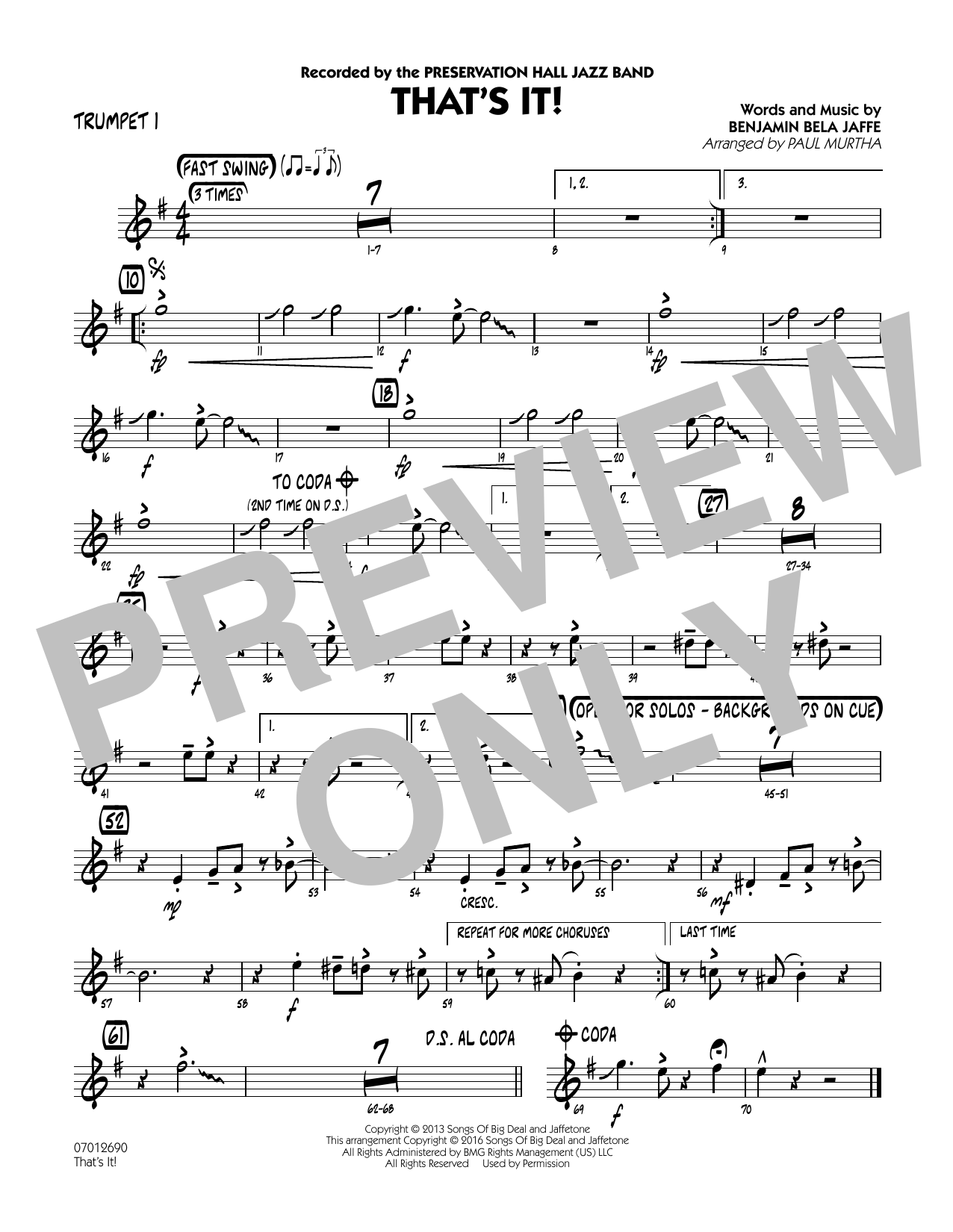 That's It! - Trumpet 1 (Jazz Ensemble)