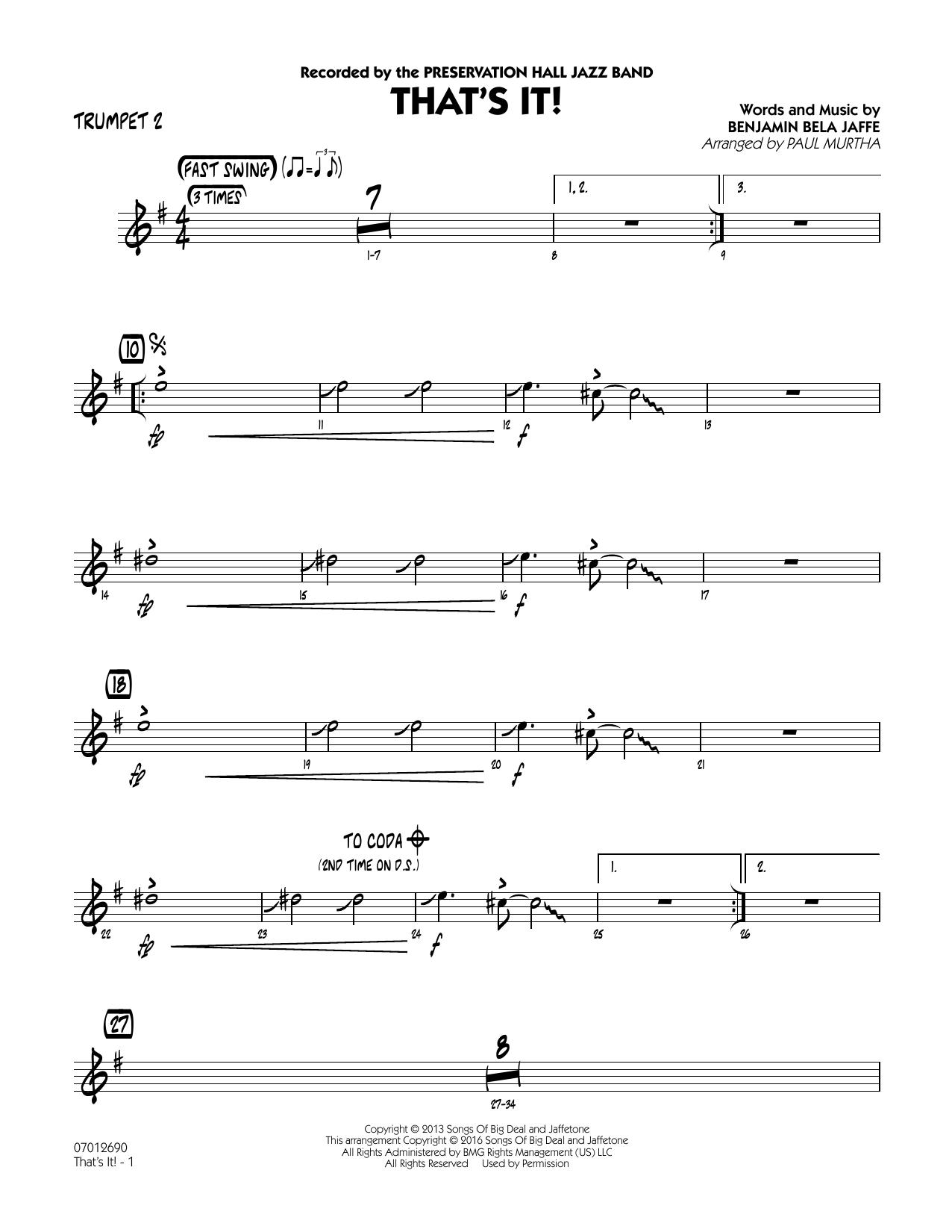 That's It! - Trumpet 2 (Jazz Ensemble)