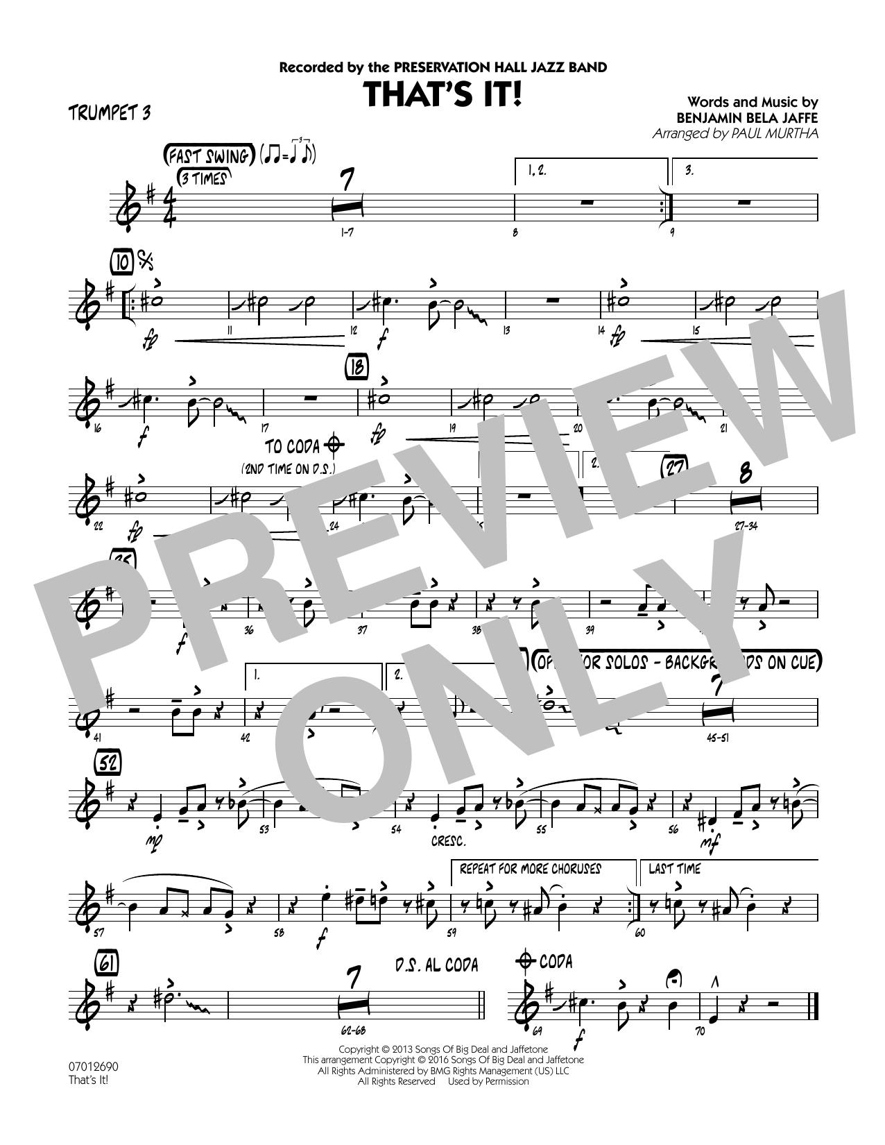 That's It! - Trumpet 3 (Jazz Ensemble)