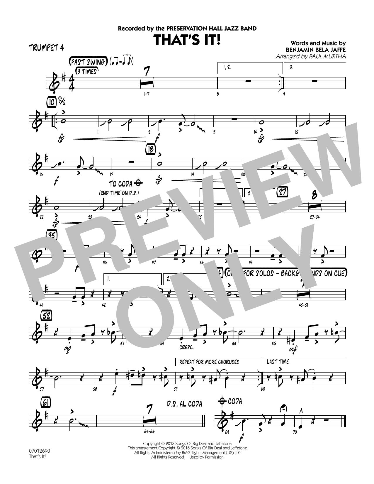 That's It! - Trumpet 4 (Jazz Ensemble)