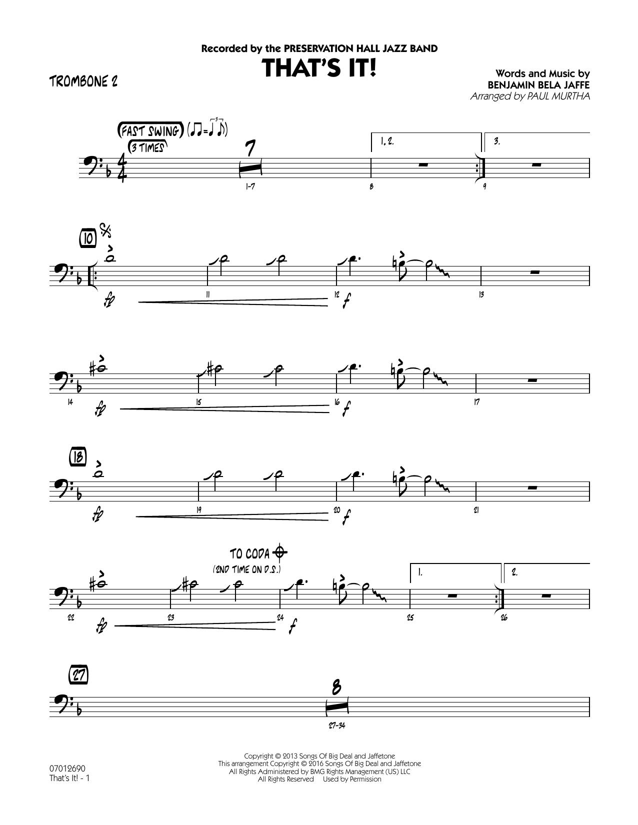 That's It! - Trombone 2 (Jazz Ensemble)