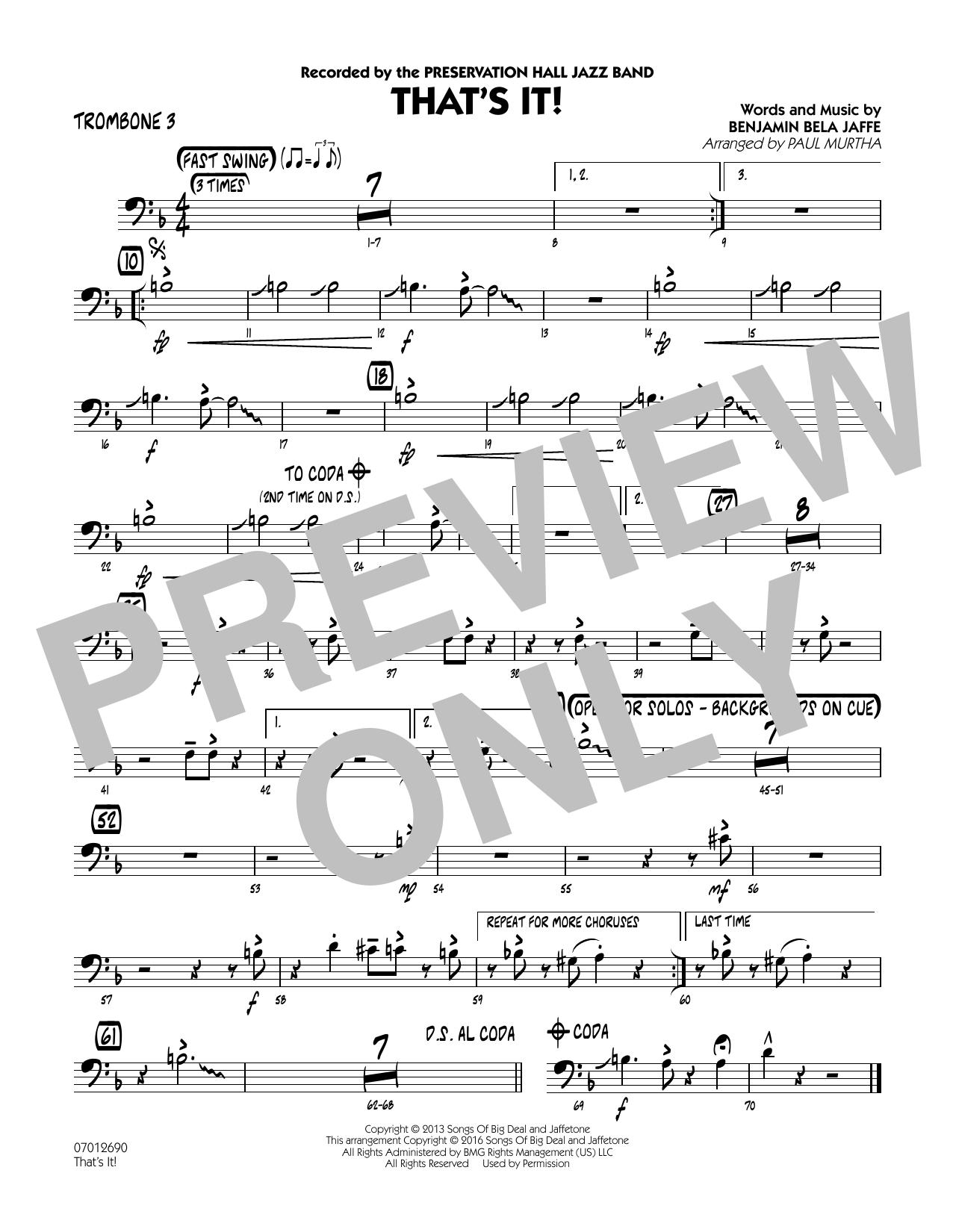 That's It! - Trombone 3 (Jazz Ensemble)