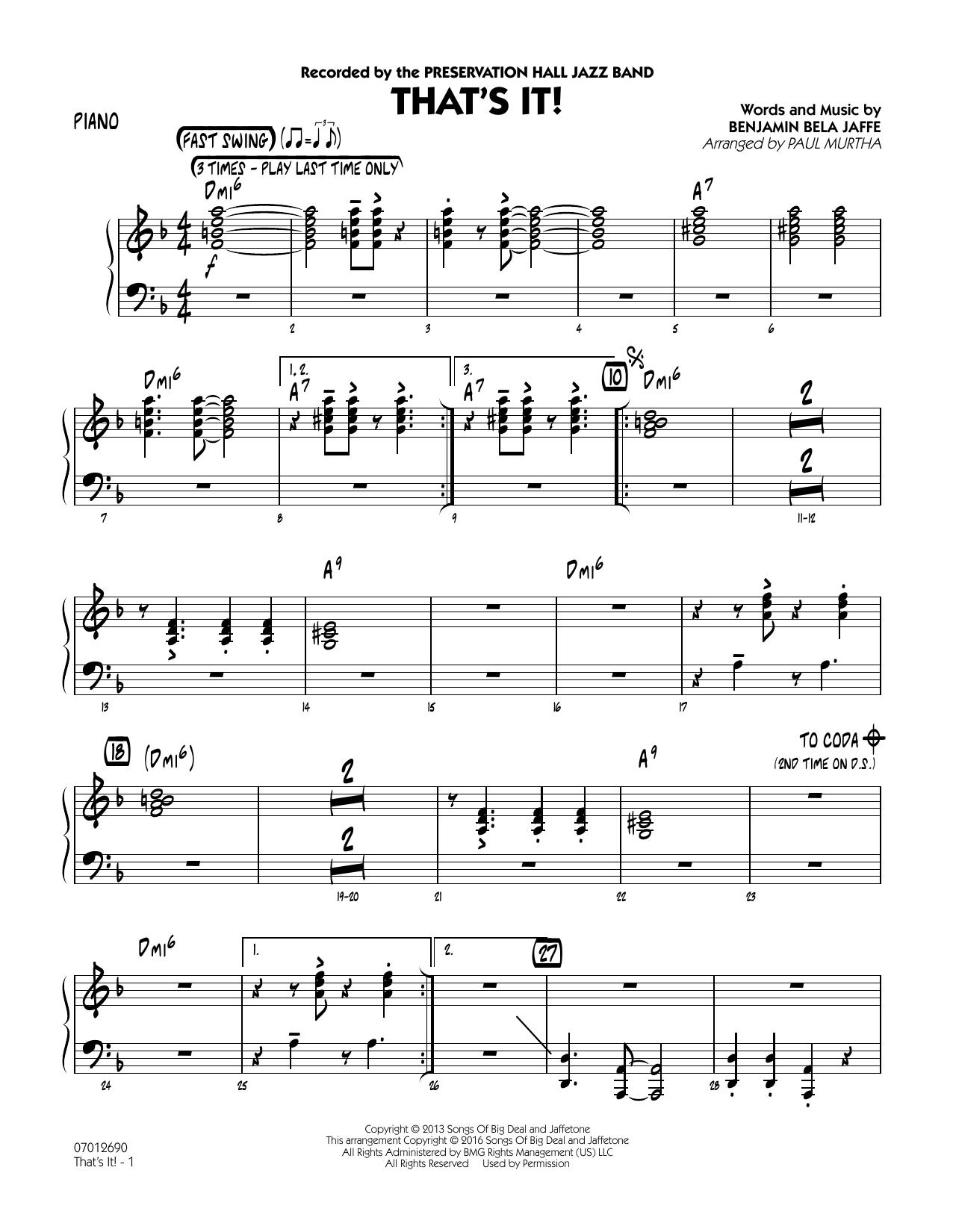 That's It! - Piano (Jazz Ensemble)