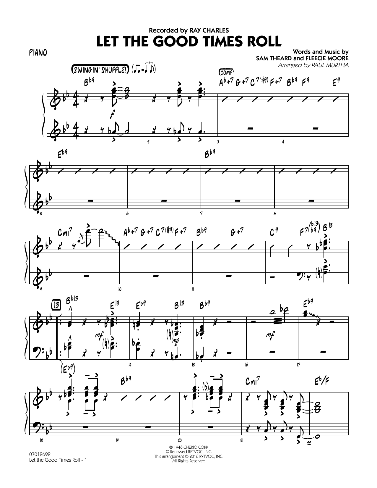 Let the Good Times Roll - Piano (Jazz Ensemble)