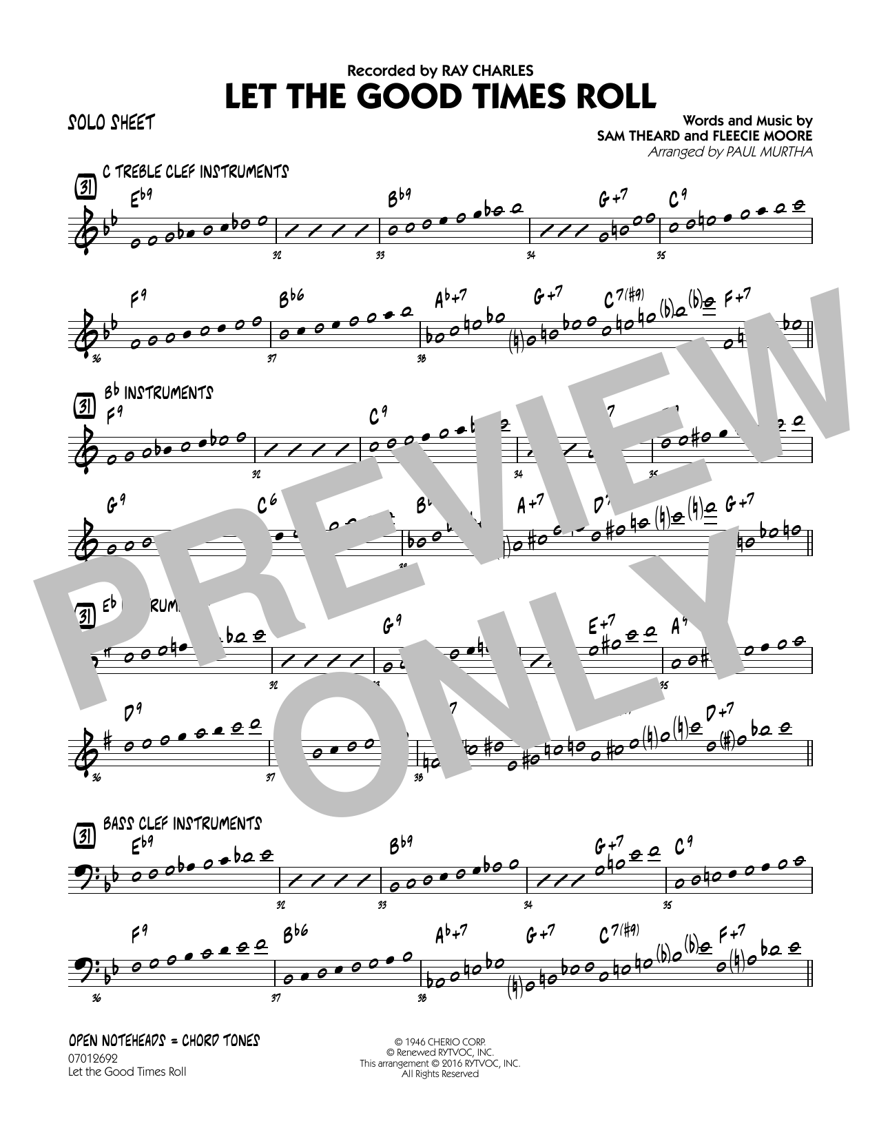 Let the Good Times Roll - Solo Sheet (Jazz Ensemble)