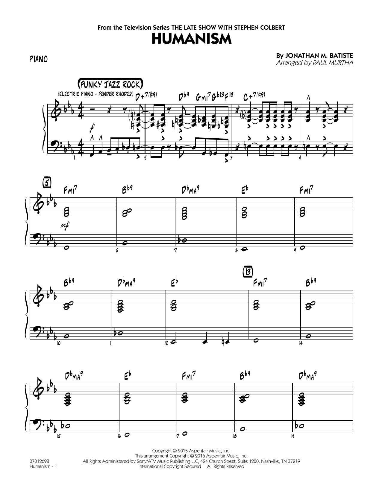 Humanism - Piano (Jazz Ensemble)