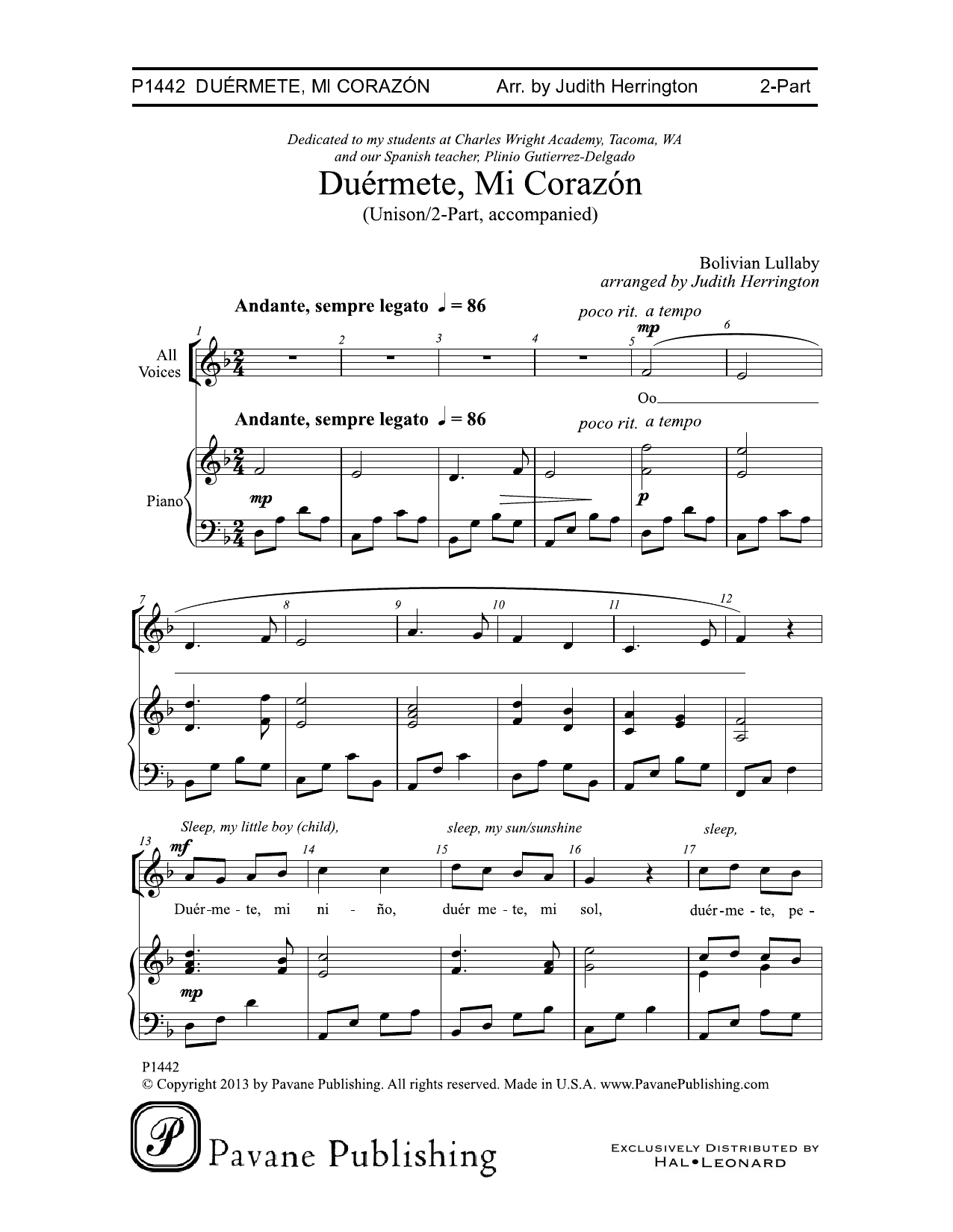 Duermete, Mi Corazon Sheet Music