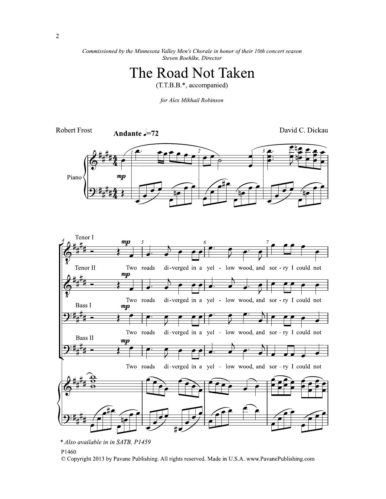 The Road Not Taken - TTBB Sheet Music