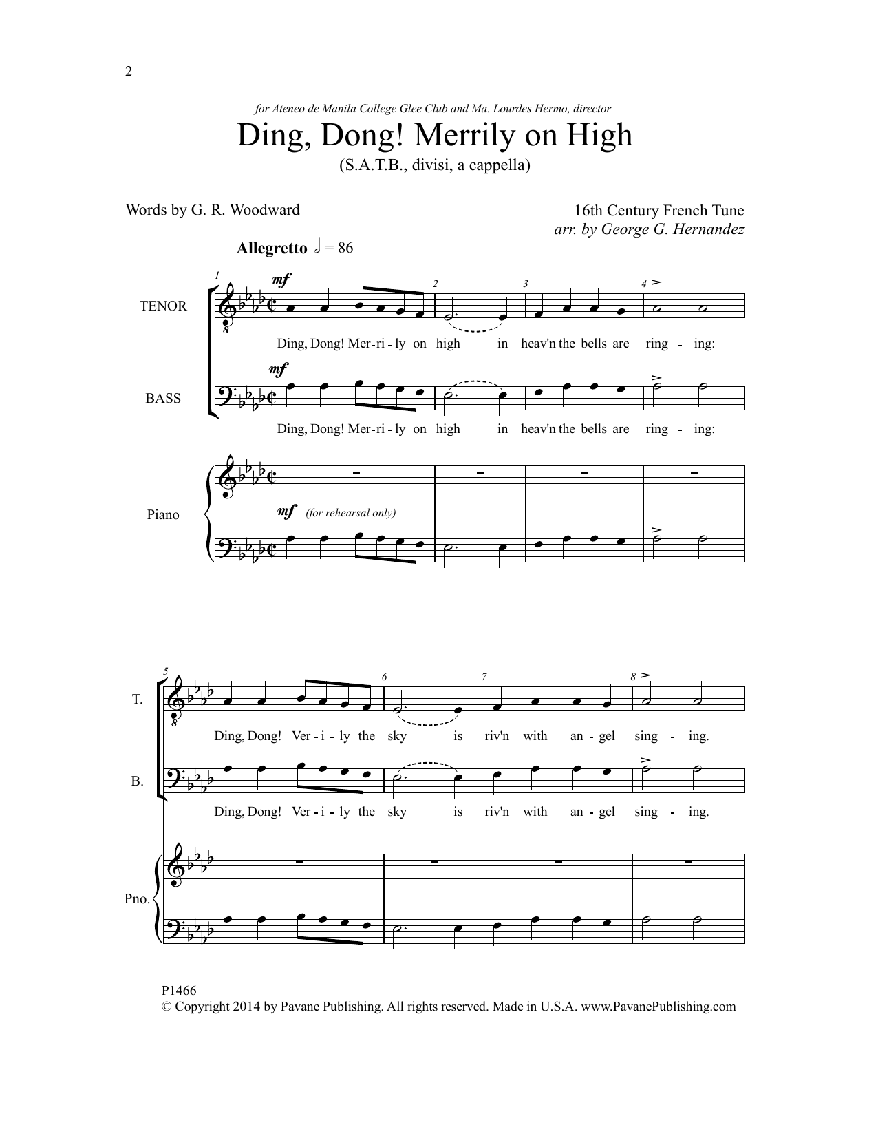 Ding, Dong! Merrily On High Sheet Music