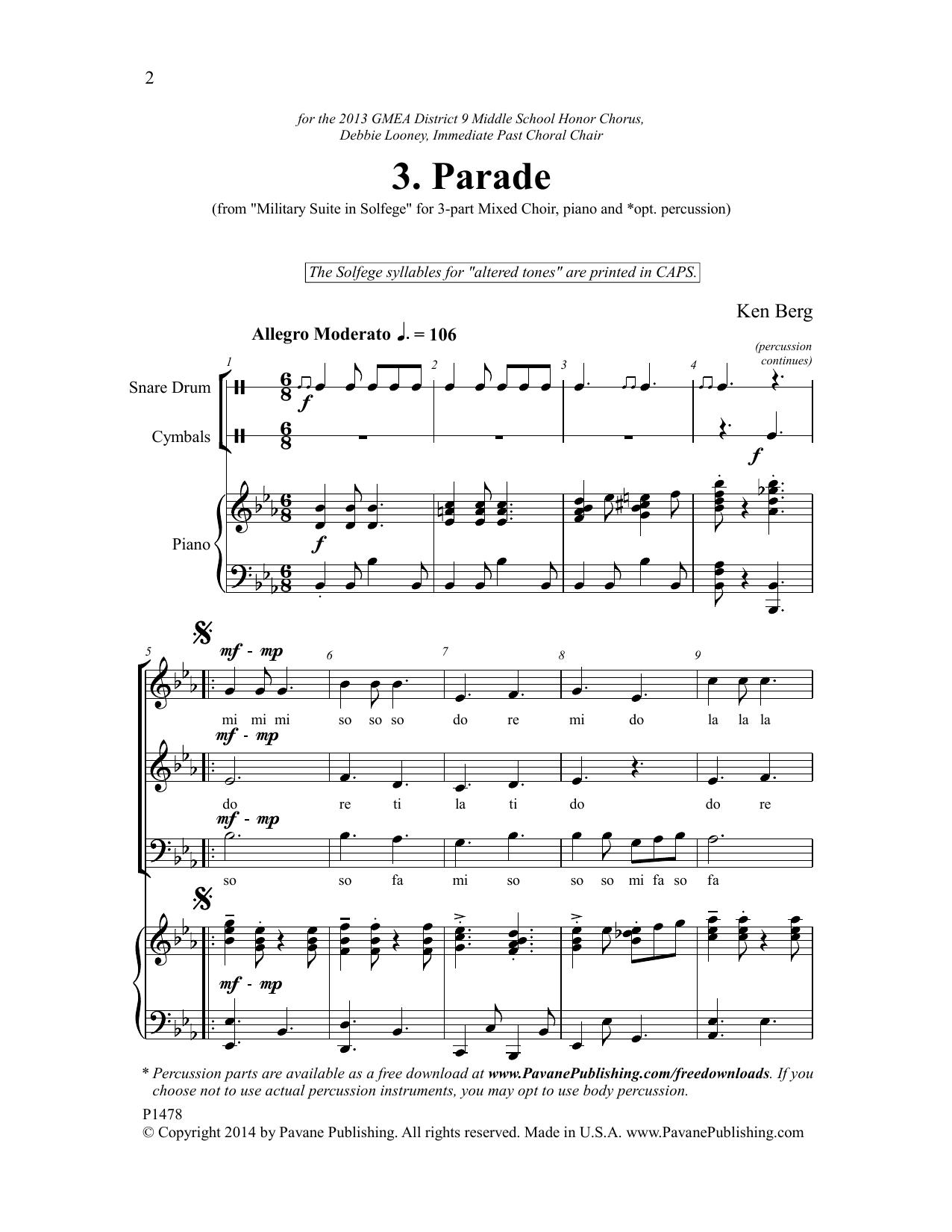 Parade Sheet Music