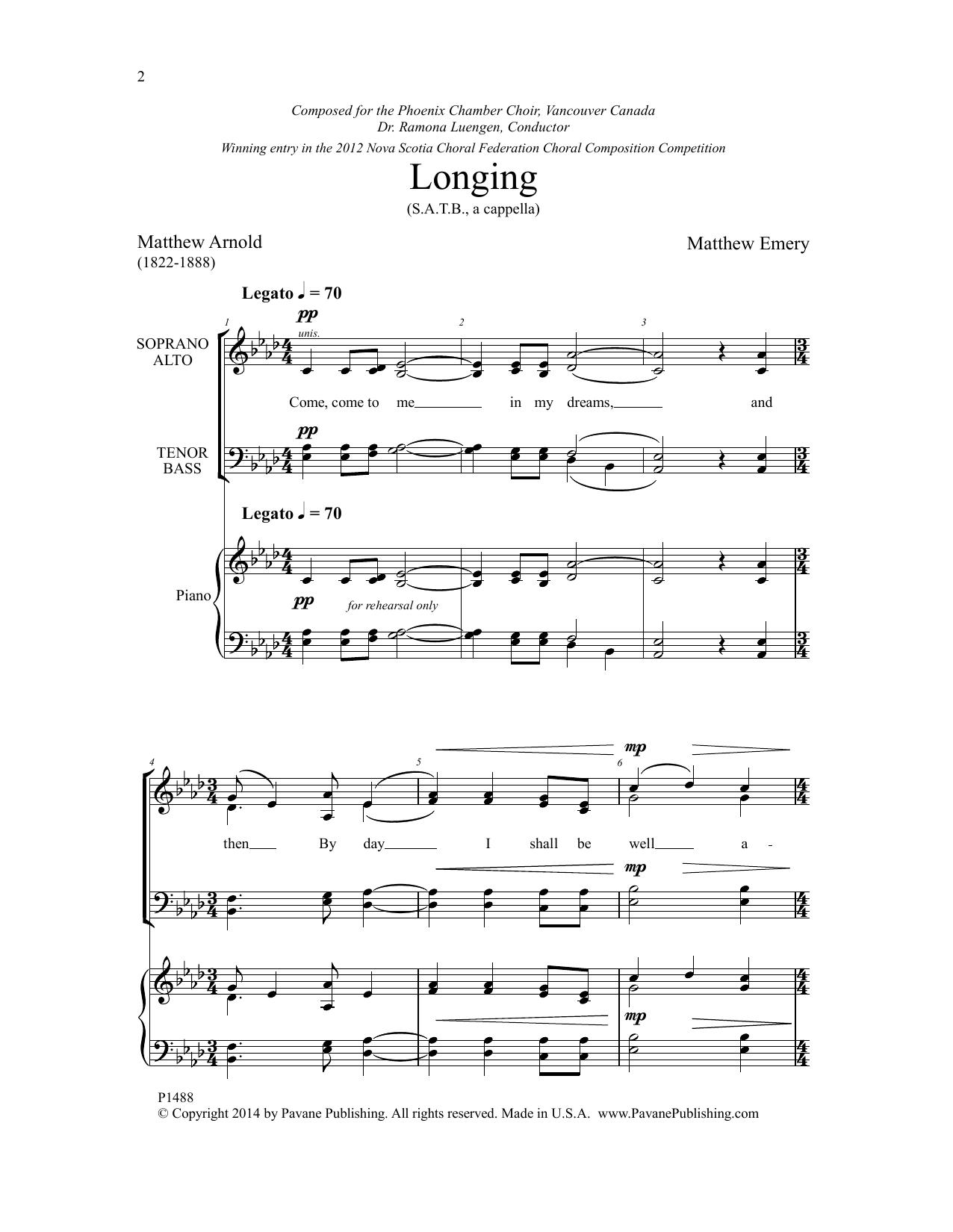 Longing Sheet Music