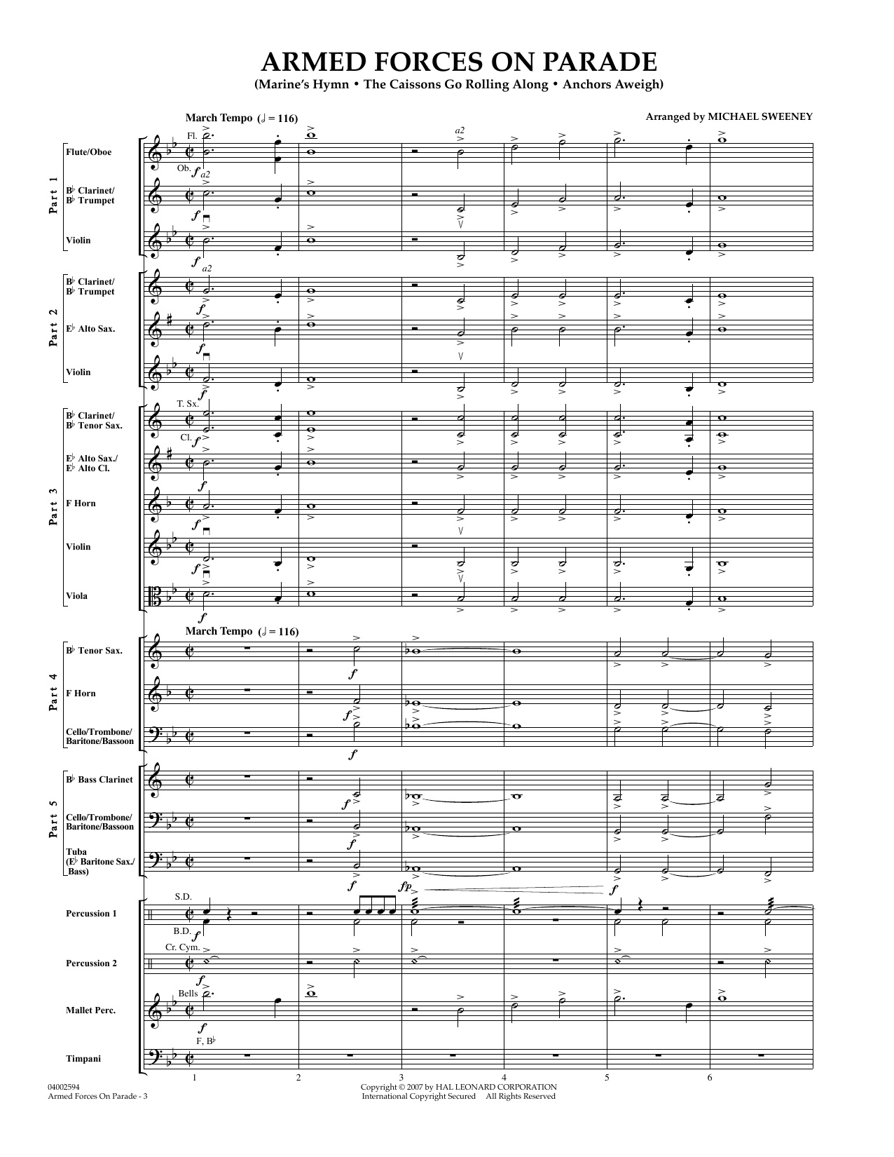 Armed Forces on Parade (COMPLETE) sheet music for concert band by Michael Sweeney. Score Image Preview.