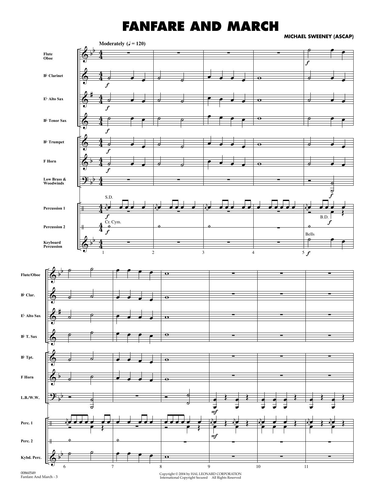 Fanfare And March (COMPLETE) sheet music for concert band by Michael Sweeney. Score Image Preview.